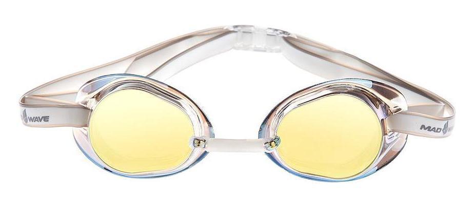Очки для плавания стартовые MadWave Racer SW Mirror, цвет: желтыйM0455 02 0 06WКлассические стартовые очки с зеркальным покрытием MadWave Racer SW Mirror. Двойной силиконовый ремешок с затылочной клипсой для надёжной фиксации очков. Линзы из поликарбоната без обтюратора с зеркальным покрытием. Антизапотевающие стекла. Защита от ультрафиолетовых лучей. Настраиваемая индивидуально трубчатая переносица позволяет собрать очки под любой тип лица. Характеристики: Цвет: желтый. Материал: поликарбонат, силикон. Размер наглазника: 6 см х 3,5 см. Изготовитель: Китай. Размер упаковки: 11 см х 9 см х 4 см.