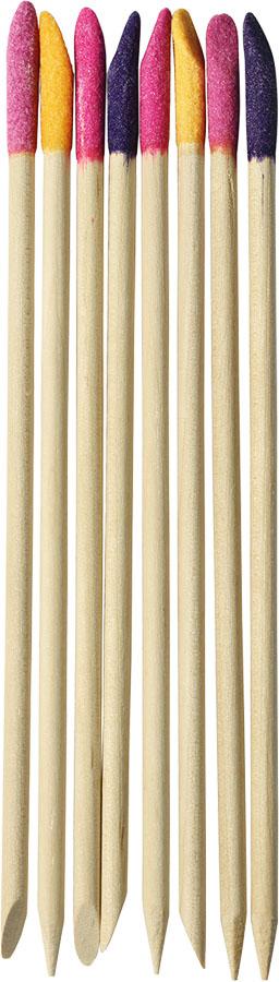 UBU Палочки для кутикулы, с абразивным наконечником, 8 шт. 19-501219-5012Палочки для кутикулы UBU изготовлены из дерева и имеют абразивные наконечники. Обычная сторона используется для отодвигания кутикулы, а абразивным наконечником можно удалить сухую грубую кожу. С помощью этих палочек ваши ногти всегда будут ухоженными. Товар сертифицирован. Длина палочек: 14 см. Материал: дерево, наждачный порошок.