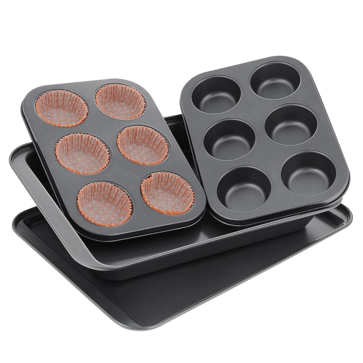 Набор жаропрочной посуды, 4 предметаSL-8016Набор жаропрочной посуды состоит из прямоугольного противня, прямоугольной формы для выпечки и двух форм для кексов с шестью круглыми ячейками на каждой (для одной из форм предусмотрено 6 рифленых салфеток для кексов). Посуда выполнена из углеродистой стали. Особое высокотехнологичное антипригарное покрытие препятствует пригоранию пищи и обеспечивает легкую очистку после использования. Функциональный набор пригодится любой хозяйке и поможет приготовить вкусную выпечку. Можно мыть в посудомоечной машине. Не использовать абразивные моющие средства и мочалки.