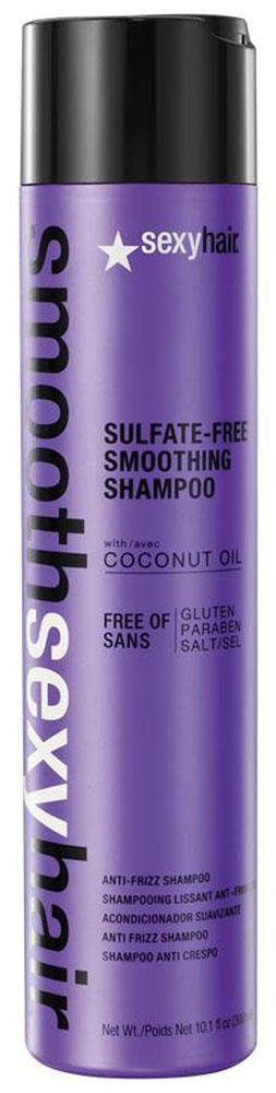 Sexy Hair Шампунь для волос Sulfate Free Smoothing Shampoo, разглаживающий, 300 млSM-38SHA10Преобразует пушащиеся, волнистые и кудрявые волосы в гладкие, мягкие и блестящие. Не содержит сульфатов, клейковины, парабенов и солей. Обеспечивает гладкость, мягкость, блеск и баланс влаги. Сохраняет стойкость кератинового и химического выпрямления, работает на наращённых волосах. Кокосовое масло помогает бороться с пушащимися волосами, придавая им гладкость, предотвращает открытие кутикулы и излишние трение волос, отталкивает влагу. Товар сертифицирован.
