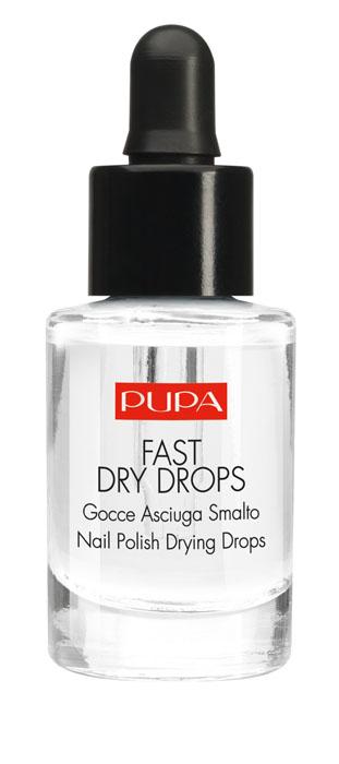 """PUPA Быстрая сушка лака Fast Dry Drops, 7 мл0003934Fast Dry Drops - Жидкость для сушки лака.Идеальный маникюр за одно мгновение? Fast Dry Drops высушит поверхностный слой лака за 60 секунд, полное высыхание наступает через несколько минут. Специальная формула повышает прочность лака и не пачкает ногти, обеспечивает безукоризненный результат! Арахисовое масло и витамин Е даёт ревитализирующуий эффект: лак становится идеально блестящим, средство питает и увлажняет кутикулу. Практичный дозатор гарантирует быстрое и точное нанесение. Подходит для всех лаков и средств серии """"Нэил арт"""" Pupa"""