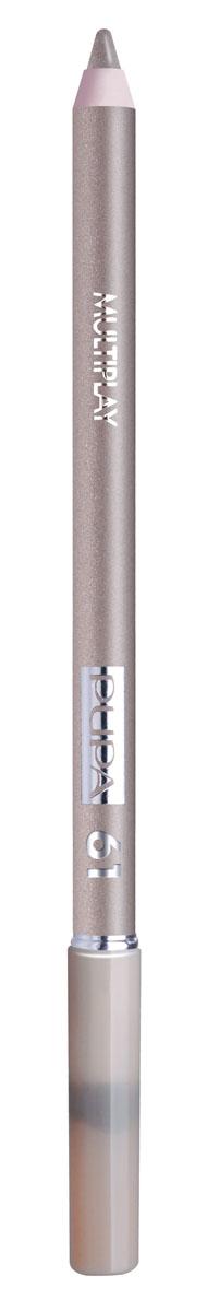 PUPA Карандаш для век с аппликатором Multiplay Eye Pencil тон №61 платиновый, 1.2 г244061Контурный карандаш для глаз Multiplay тройного действия с аппликатором для растушёвки подчёркивает взгляд с помощью интенсивного и однородного цвета, которой обладает безупречной стойкостью. Мягкая и очень пластичная текстура обеспечивает лёгкое и быстрое нанесение.