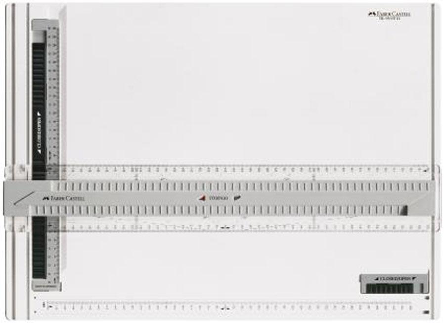 Чертежный планшет Faber-Castell, А3171273Чертежный планшет Faber-Castel представляет собой чертежный прибор, состоящий из доски и подвижной линейки-рейсшины. Доска, изготовленная из ударопрочного пластика, имеет габаритные размеры 515 мм х 375 мм и снабжена противоскользящими вставками с нижней стороны. Зажим листа осуществляется с помощью специального захвата сверху. Размер рассчитан на вычерчивание листа формата А3. Подвижная рейсшина имеет механизм фиксации Stop/Go, который позволяет надежно зафиксировать ее в любом месте траектории движения или провести ряд параллельных линий.