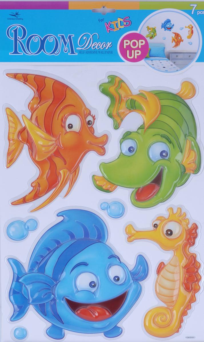 Наклейки для интерьера Room Decoration Рыбки, объемные, 41 х 29 смPOA1010Наклейки для стен и предметов интерьера Room Decoration Рыбки, изготовленные из экологически безопасной самоклеящейся виниловой пленки - это удивительно простой и быстрый способ оживить интерьер помещения. На одном листе расположены 7 объемных наклеек в виде пузырей и морских обитателей. Интерьерные наклейки дадут вам вдохновение, которое изменит вашу жизнь и поможет погрузиться в мир ярких красок, фантазий и творчества. Для вас открываются безграничные возможности придумать оригинальный дизайн и придать новый вид стенам и мебели. Наклейки абсолютно безопасны для здоровья. Они быстро и легко наклеиваются на любые ровные поверхности: стены, окна, двери, кафельную плитку, виниловые и флизелиновые обои, стекла, мебель. При необходимости удобно снимаются, не оставляют следов и не повреждают поверхность (кроме бумажных обоев). Наклейки Room Decoration Рыбки идеально подойдут для интерьера детской комнаты.