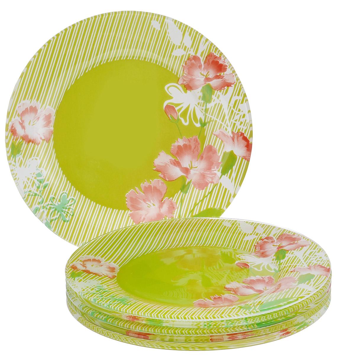 Набор тарелок Цветы, цвет: зеленый, диаметр 17,5 см, 6 шт115610Набор тарелок Цветы, выполненный из высококачественного стекла зеленого цвета, состоит из 6 мелких тарелок. Тарелки оформлены изображением цветов. Они сочетают в себе изысканный дизайн с максимальной функциональностью. Оригинальность оформления тарелок придется по вкусу и ценителям классики, и тем, кто предпочитает утонченность и изящность. Набор тарелок послужит отличным подарком к любому празднику.