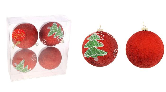 """Набор новогодних подвесных украшений Sima-land """"Шар"""", цвет: красный, диаметр 10 см, 4 шт. 717932"""