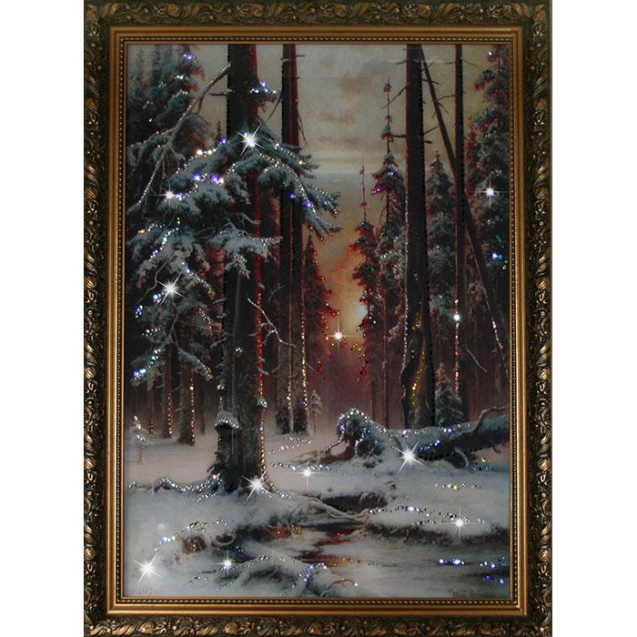 1113 Картина Сваровски Зимний закат в еловом лесуU210DFКоличество кристаллов: 1520.Материал: стекло, хрусталь, алюминий.Размер товара, см: 70х90.