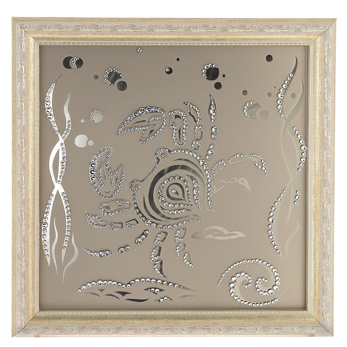 Картина с кристаллами Swarovski Знак зодиака. Рак, 35 х 35 смES-412Изящная картина в багетной раме Знак зодиака. Рак инкрустирована кристаллами Swarovski, которые отличаются четкой и ровной огранкой, ярким блеском и чистотой цвета. Идеально подобранная палитра кристаллов прекрасно дополняет картину. С задней стороны изделие оснащено проволокой для размещения на стене. Картина с кристаллами Swarovski элегантно украсит интерьер дома, а также станет прекрасным подарком, который обязательно понравится получателю. Блеск кристаллов в интерьере - что может быть сказочнее и удивительнее. Изделие упаковано в подарочную картонную коробку синего цвета и комплектуется сертификатом соответствия Swarovski.