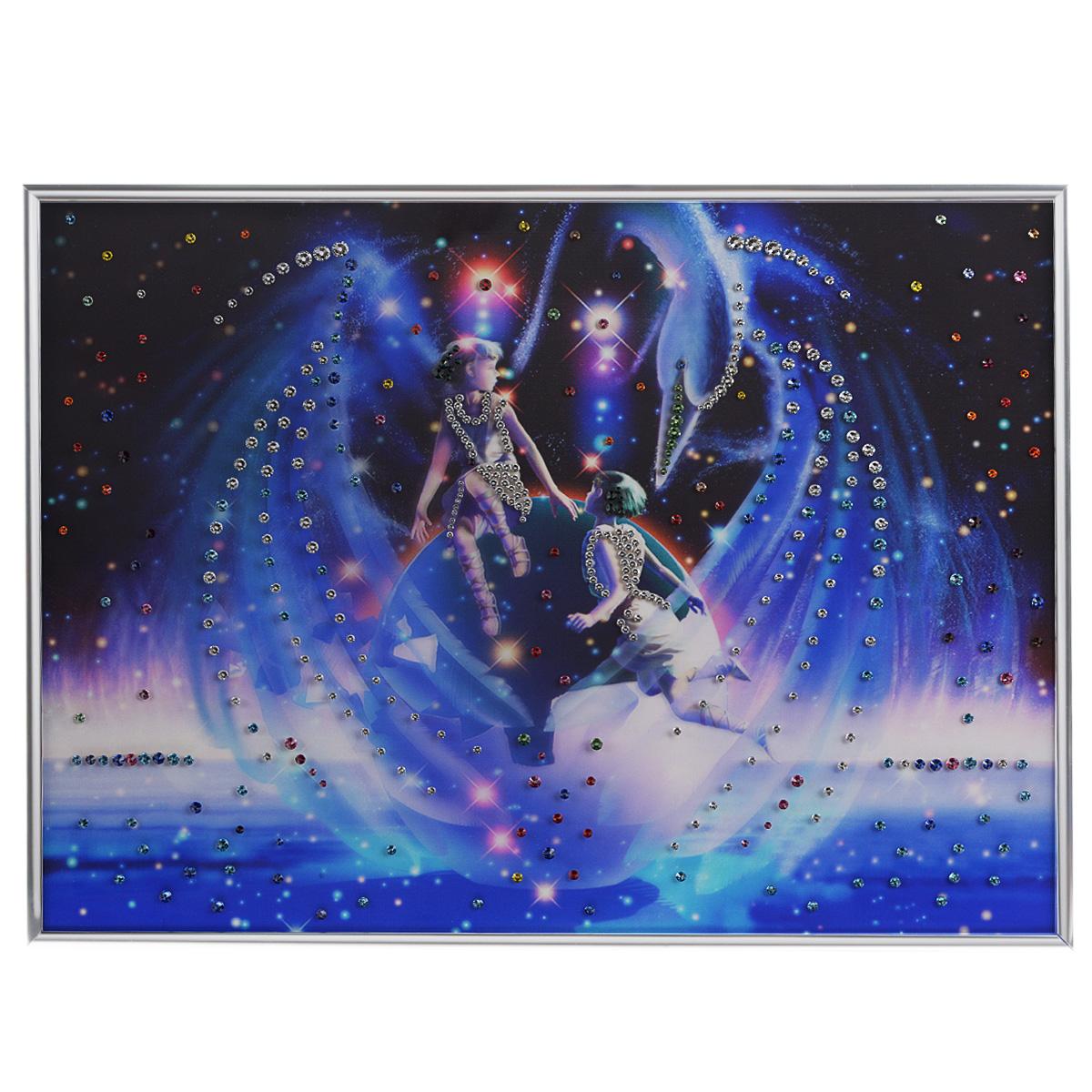 Картина с кристаллами Swarovski Знак зодиака. Близнецы Кагая, 40 см х 60 см1139Изящная картина в металлической раме, инкрустирована кристаллами Swarovski, которые отличаются четкой и ровной огранкой, ярким блеском и чистотой цвета. Красочное изображение знака зодиака - близнецы Кагая, расположенное на внутренней стороне стекла, прекрасно дополняет блеск кристаллов. С обратной стороны имеется металлическая петелька для размещения картины на стене. Картина с кристаллами Swarovski Знак зодиака. Близнецы Кагая элегантно украсит интерьер дома или офиса, а также станет прекрасным подарком, который обязательно понравится получателю. Блеск кристаллов в интерьере, что может быть сказочнее и удивительнее. Картина упакована в подарочную картонную коробку синего цвета и комплектуется сертификатом соответствия Swarovski.