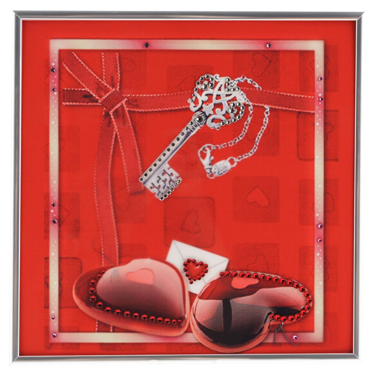 Картина с кристаллами Swarovski Ключ к сердцу, 26 х 26 см1324Изящная картина в металлической раме, инкрустирована кристаллами Swarovski, которые отличаются четкой и ровной огранкой, ярким блеском и чистотой цвета. Красочное изображение ключика и двух сердечек, расположенное под стеклом, прекрасно дополняет блеск кристаллов. С обратной стороны имеется металлическая петелька для размещения картины на стене. Картина с кристаллами Swarovski Ключ к сердцу элегантно украсит интерьер дома или офиса, а также станет прекрасным подарком, который обязательно понравится получателю. Блеск кристаллов в интерьере, что может быть сказочнее и удивительнее. Картина упакована в подарочную картонную коробку синего цвета и комплектуется сертификатом соответствия Swarovski.