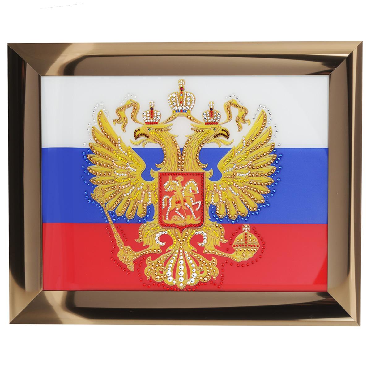Картина с кристаллами Swarovski Герб России, 47,5 х 37,5 см1331Изящная картина в металлической раме, инкрустирована кристаллами Swarovski, которые отличаются четкой и ровной огранкой, ярким блеском и чистотой цвета. Красочное изображение герба России, расположенное под стеклом, прекрасно дополняет блеск кристаллов. С обратной стороны имеется металлическая петелька для размещения картины на стене. Картина с кристаллами Swarovski Герб России элегантно украсит интерьер дома или офиса, а также станет прекрасным подарком, который обязательно понравится получателю. Блеск кристаллов в интерьере, что может быть сказочнее и удивительнее. Картина упакована в подарочную картонную коробку синего цвета и комплектуется сертификатом соответствия Swarovski.