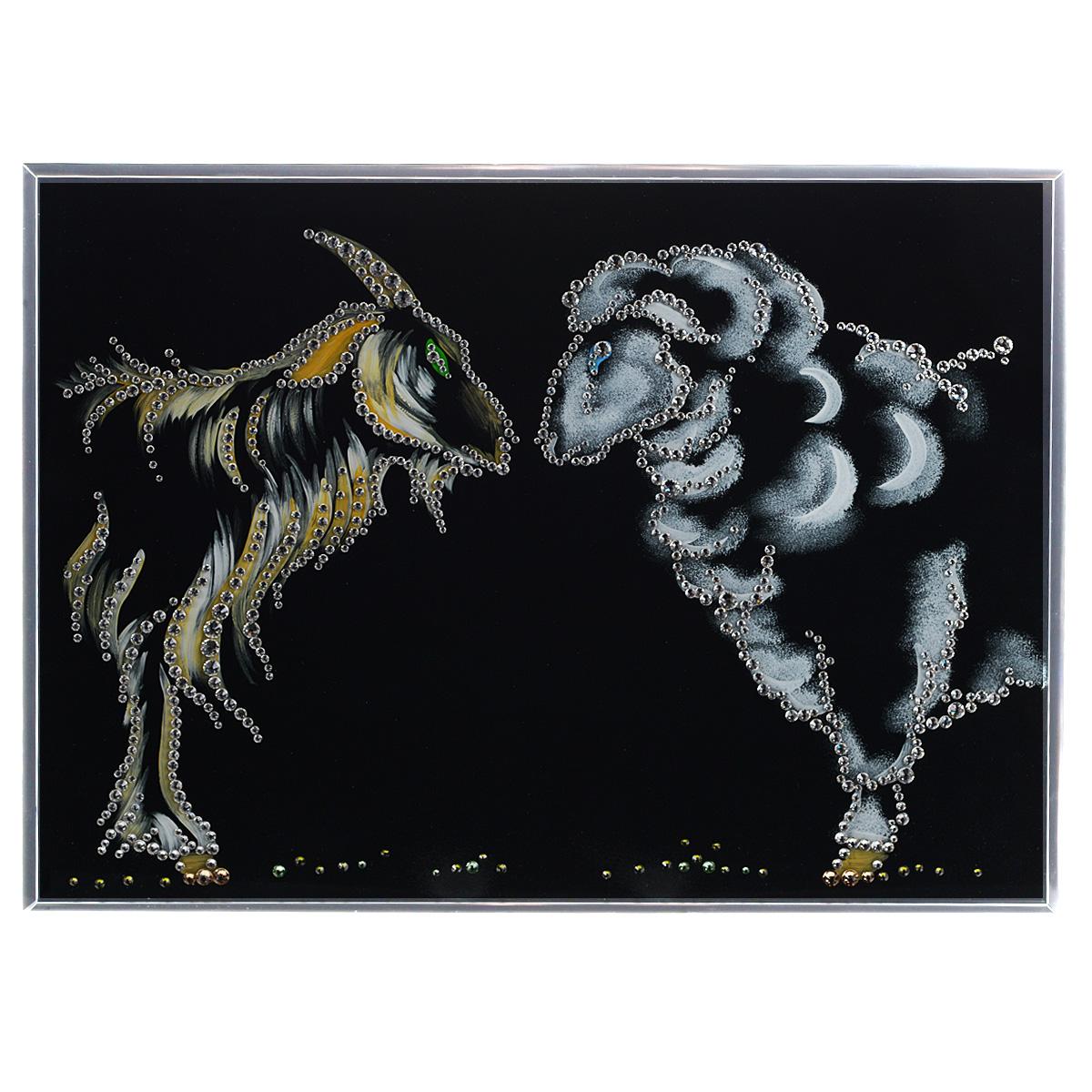Картина с кристаллами Swarovski Символ 2015, 40 см х 30 см1472Изящная картина в металлической раме, инкрустирована кристаллами Swarovski, которые отличаются четкой и ровной огранкой, ярким блеском и чистотой цвета. Красочное изображение символа 2015 года - овечки и козы, расположенное на внутренней стороне стекла, прекрасно дополняет блеск кристаллов. Под стеклом картина оформлена бархатистой тканью черного цвета. С обратной стороны имеется металлическая петелька для размещения картины на стене. Картина с кристаллами Swarovski Символ 2015 элегантно украсит интерьер дома или офиса, а также станет прекрасным подарком, который обязательно понравится получателю. Блеск кристаллов в интерьере, что может быть сказочнее и удивительнее. Картина упакована в подарочную картонную коробку синего цвета и комплектуется сертификатом соответствия Swarovski.