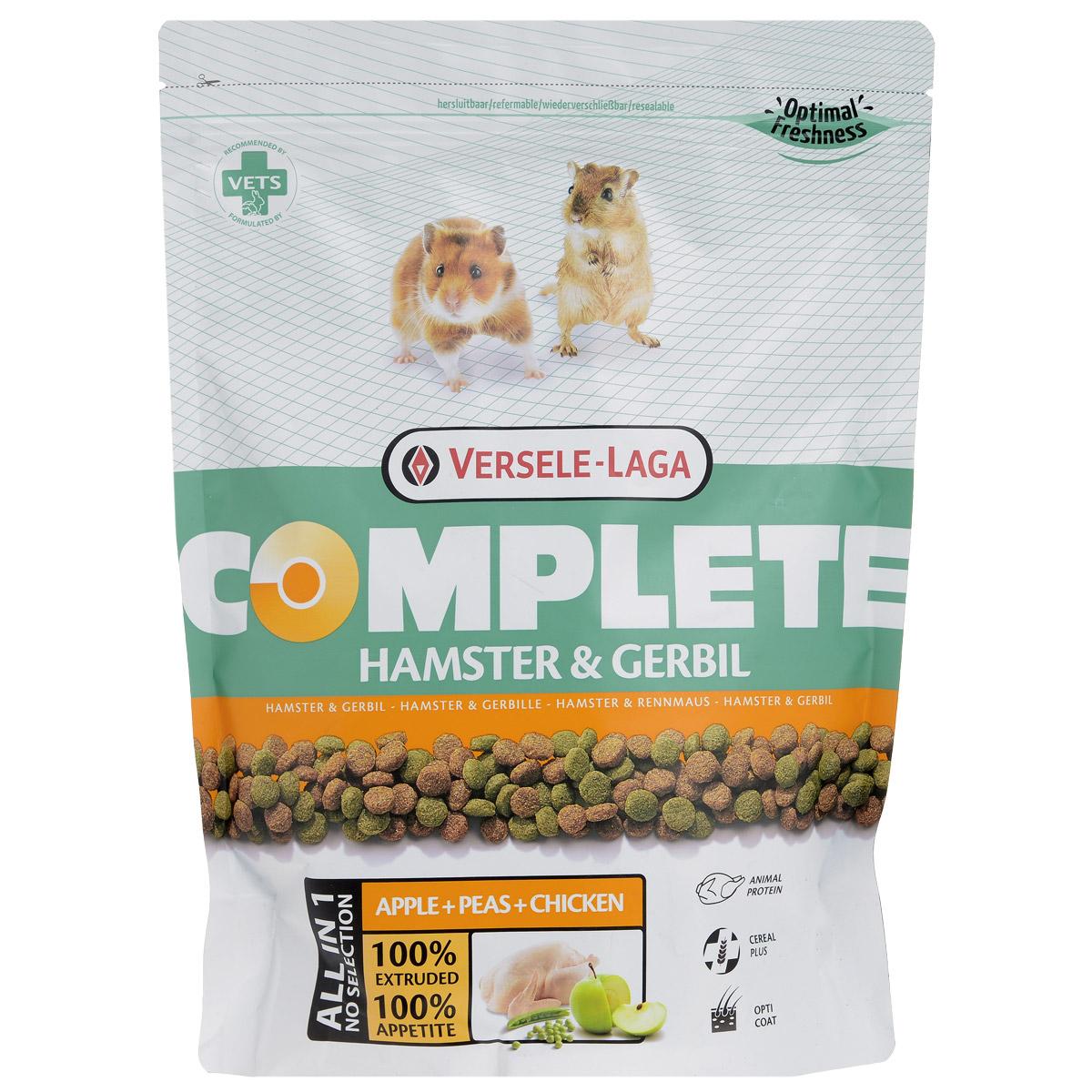 Корм для хомяков и песчанок Versele-Laga Hamster & Gerbil, комплексный, 500 г461296Комплексный корм Versele-Laga - это полноценный и вкусный корм для (карликовых) хомяков, состоящий на 100% из легкоусвояемых экструдированных гранул. Корм содержит все питательные вещества, необходимые вашим питомцам для здоровой и активной жизни. Уход за зубами Проблемы с ротовой полостью — частое явление у хомяков. Зачастую это последствия неправильного питания с нехваткой твердых компонентов для стачивания постоянно растущих зубов. Использование особых неизмельченных и твердых компонентов в гранулах обеспечит более длительное жевание и лучшее стачивание зубов, что благоприятствует здоровью ротовой полости. Свежие овощи Особый процесс прессования позволяет добавлять в гранулы до 10% свежих овощей, что обеспечивает прекрасный вкус гранул. Вкупе с дополнительной клетчаткой гранулы имеют прекрасную перевариваемость. Протеины Хомяки по своей природе всеядны и относятся к тем грызунам, которым необходимы как животные,...
