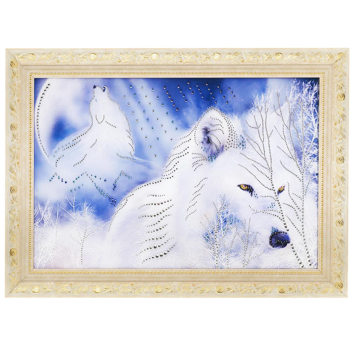 Картина с кристаллами Swarovski Белые волки, 70 см х 50 см1057Изящная картина в багетной раме, инкрустирована кристаллами Swarovski, которые отличаются четкой и ровной огранкой, ярким блеском и чистотой цвета. Красочное изображение белых волков, расположенное под стеклом, прекрасно дополняет блеск кристаллов. С обратной стороны имеется металлическая проволока для размещения картины на стене. Картина с кристаллами Swarovski Белые волки элегантно украсит интерьер дома или офиса, а также станет прекрасным подарком, который обязательно понравится получателю. Блеск кристаллов в интерьере, что может быть сказочнее и удивительнее. Картина упакована в подарочную картонную коробку красного цвета и комплектуется сертификатом соответствия Swarovski.