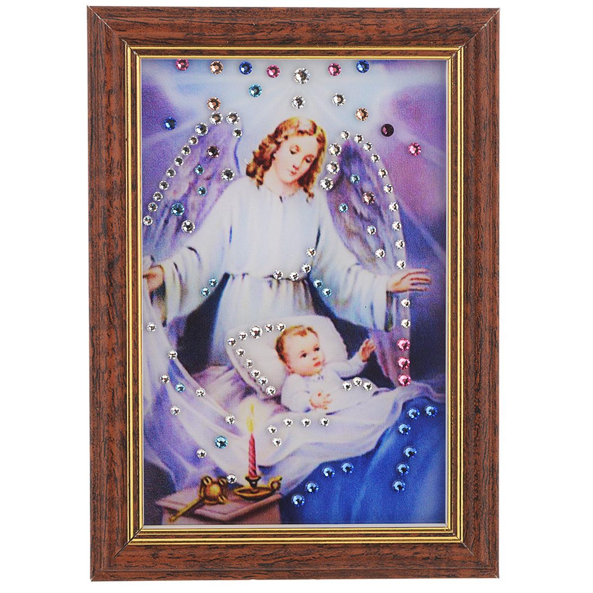 Картина с кристаллами Swarovski Ангел-защитник, 12,5 см х 17 смES-412Изящная картина в багетной раме, инкрустирована кристаллами Swarovski, которые отличаются четкой и ровной огранкой, ярким блеском и чистотой цвета. Красочное изображение ангела и ребеночка, расположенное под стеклом, прекрасно дополняет блеск кристаллов. С обратной стороны имеется ножка для размещения картины на столе. Картина с кристаллами Swarovski Ангел-защитник элегантно украсит интерьер дома или офиса, а также станет прекрасным подарком, который обязательно понравится получателю. Блеск кристаллов в интерьере, что может быть сказочнее и удивительнее. Картина упакована в подарочную картонную коробку синего цвета и комплектуется сертификатом соответствия Swarovski.