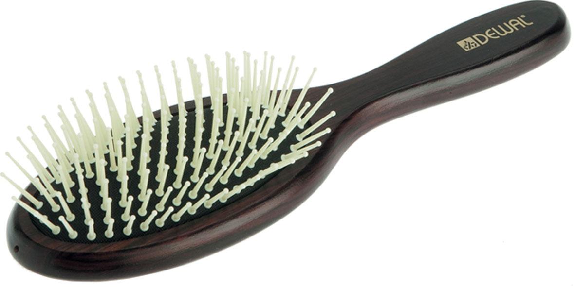Dewal Расческа массажная, с пластиковыми зубцами. BR20140331-055В ассортименте торговой марки Dewal (Деваль) имеются расчески на все случаи жизни, с помощью которых можно выполнять стрижки, укладки, модельные причёски и другие манипуляции с волосами. Вообще расческа для волос считается для парикмахера самым простым, но при этом незаменимым инструментом. Массажная деревянная щетка с пластмассовыми зубцами (что делает расческу более мягкой и менее травматичной для кожи головы) идеальна для расчесывания любых волос и массажа кожи головы, специальная форма зубцов обеспечивает наиболее бережное соприкосновение с кожей головы. Продуманная конструкция, эргономичный дизайн обеспечивают комфортную работу парикмахера. Расчёски с лёгкостью скользят по волосам, удобно ложатся в руку. Товар сертифицирован.
