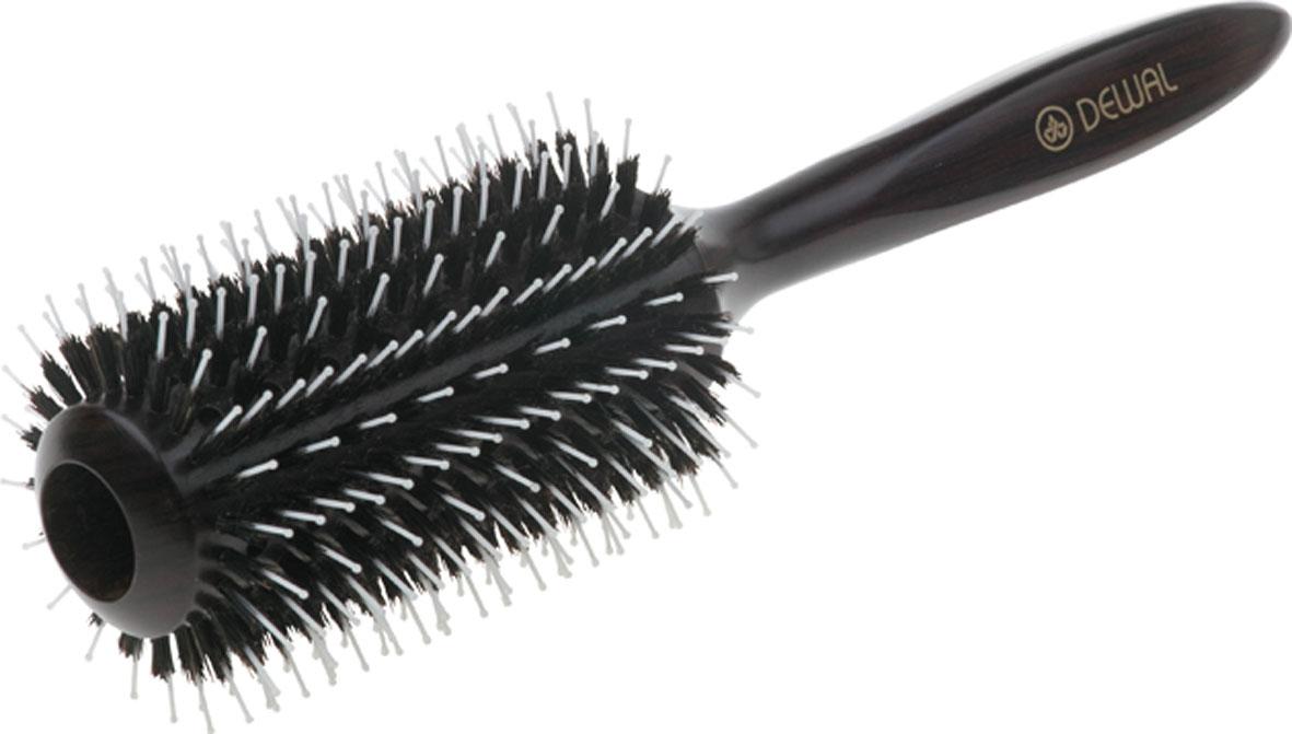 Dewal Расческа круглая с пластиковым штифтом и натуральной щетиной. BR2070340-98000TERCВ ассортименте торговой марки Dewal имеются расчески на все случаи жизни, с помощью которых можно выполнять стрижки, укладки, модельные причёски и другие манипуляции с волосами. Вообще расческа для волос считается для парикмахера самым простым, но при этом незаменимым инструментом. Брашинг из благородного темного дерева круглой формы с комбинированной щетиной (натуральная щетина + пластиковый штифт) обеспечивает более идеальное вытягивание волос (также для выпрямления вьющихся волос), удобная деревянная ручка и легкий вес создает дополнительное удобство при формировании прически. Продуваемая. Продуманная конструкция, эргономичный дизайн обеспечивают комфортную работу парикмахера. Расчёски с лёгкостью скользят по волосам, удобно ложатся в руку.Товар сертифицирован.