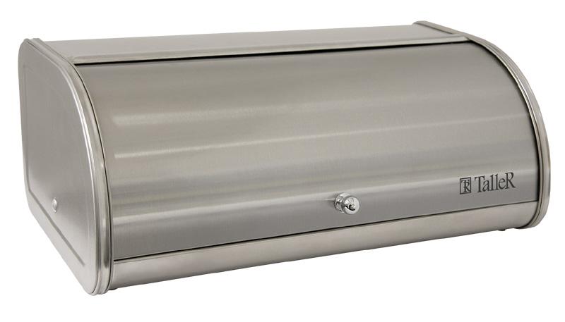 Хлебница Taller Аманда, 44 х 26 х 17 смVT-1520(SR)Хлебница Taller Аманда обеспечивает идеальные условия хранения для различных видов хлебобулочных изделий, надолго сохраняя их свежесть и защищая от воздействия внешних факторов (запахов и влаги). Изделие отличается вместительностью: объем достаточен для хранения нескольких хлебобулочных изделий. Прочная конструкция каркаса гарантирует долговечное использование. Хлебница выполнена из высококачественной нержавеющей стали. Матовая полировка наружной поверхности устойчива к царапинам. Крышка открывается мягко и бесшумно, благодаря специальной конструкции боковых креплений и комбинированному стопперу на внутренней стороне. Стоппер усилен стальной вставкой, которая предотвращает его деформацию, продлевает срок службы и органично вписывается в дизайн хлебницы. Эргономичный дизайн крышки не требует дополнительного места при открывании. Крышка снабжена удобной ручкой. Плоская поверхность крышки обеспечивает дополнительное рабочее пространство. Хлебница снабжена специальной пластиковой решеткой для хлеба. Нескользящие протекторы на основании хлебницы, выполненные из силикона, предотвращают скольжение и защищают поверхность стола от повреждений. Такая хлебница идеально впишется в интерьер любой кухни и сохранит ваш хлеб свежим и вкусным.