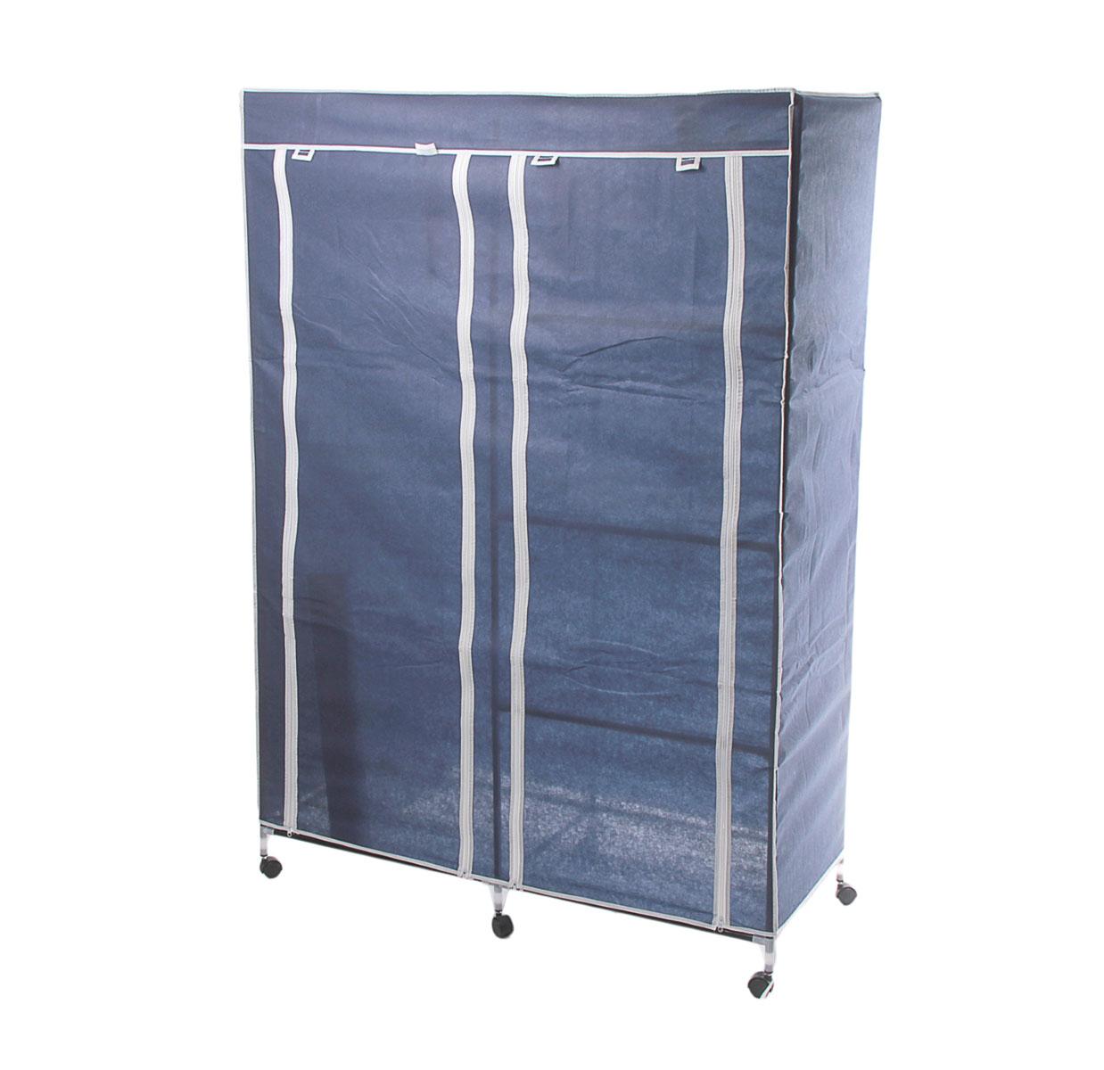 Мобильный шкаф для одежды Sima-land, цвет: синий, 120 см х 50 см х 175 см. 178923178923Мобильный шкаф для одежды Sima-land, предназначенный для хранения одежды и других вещей, это отличное решение проблемы, когда наблюдается явный дефицит места или есть временная необходимость. Складной тканевый шкаф - это мобильная конструкция, состоящая из сборного металлического каркаса, на который натянут чехол из нетканого полотна. Корпус шкафа сделан из легкой, но прочной стали, а обивка из полиэстера, который можно легко стирать в стиральной машинке. Шкаф оснащен двумя отделами с текстильными дверями, которые закрываются на застежки-молнии. Чтобы открыть шкаф вы можете скрутить двери и зафиксировать их наверху с помощью ремешков на липучках. В одном отделе присутствует перекладина для хранения вещей на вешалках, во втором отделе - 3 вместительные полки. Изделие снабжено колесиками для удобной транспортировки.