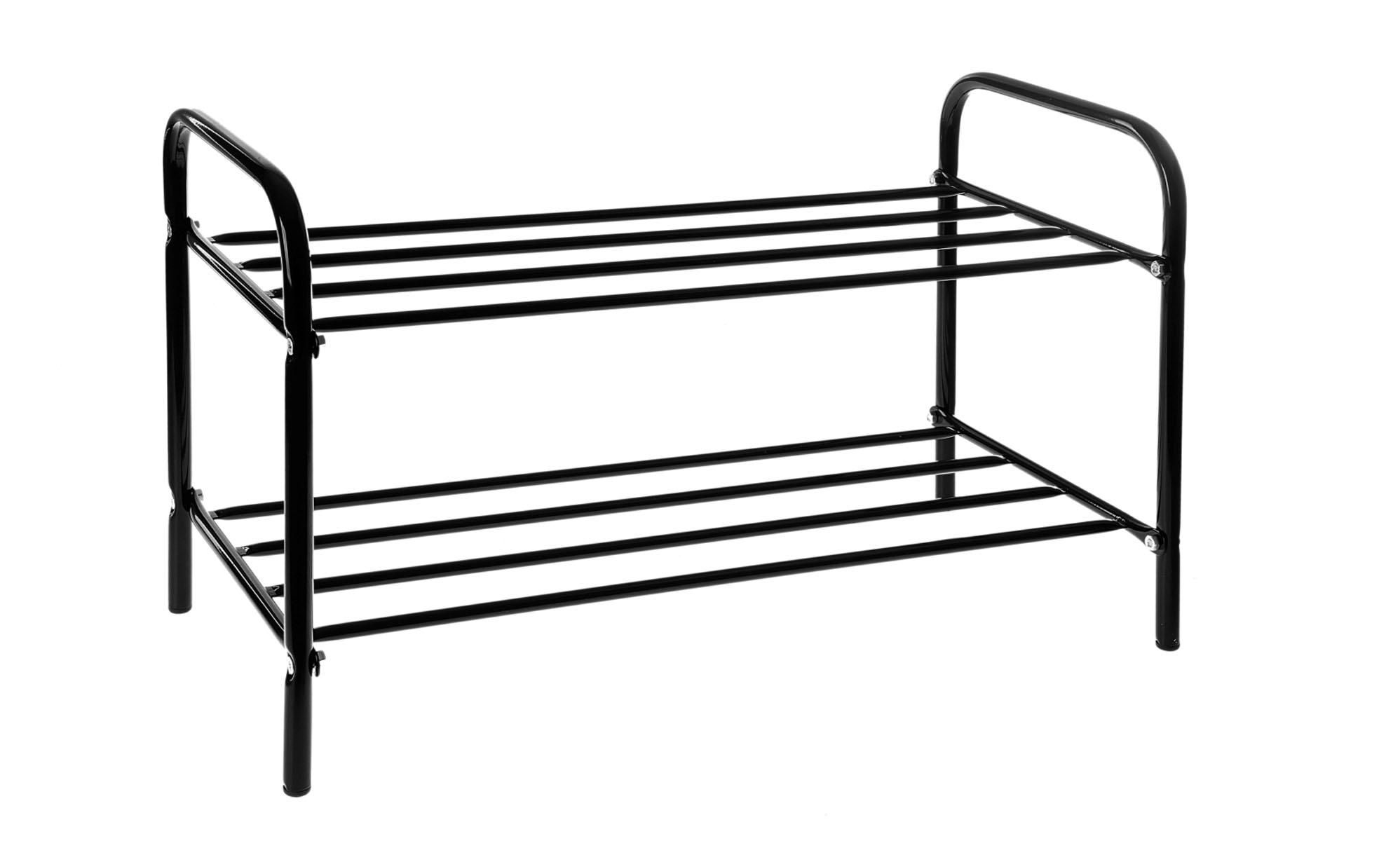 Подставка для обуви, 2 яруса, цвет: черный, 60 х 30 х 37 см192505Подставка для обуви представляет собой этажерку, выполненную из высококачественной стали. Содержит 2 яруса, на которых можно разместить по несколько пар обуви. Удобная, компактная и вместительная, такая подставка идеально впишется в интерьер прихожей. Она поможет легко организовать пространство и аккуратно хранить вашу обувь, стильный и необычный дизайн сделает ее оригинальным элементом декора. Крепления для сборки в комплекте. Размер подставки (ДхШхВ): 60 см х 30 см х 37 см.