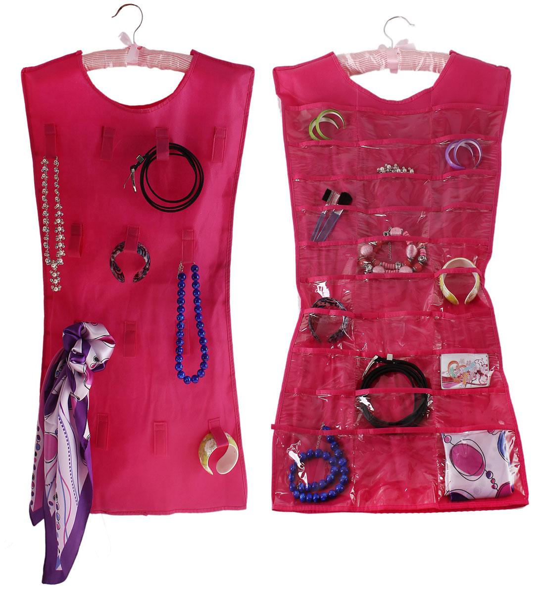 Органайзер для хранения бижутерии Sima-land, цвет: розовый, 30 отделений642656Оригинальный органайзер Sima-land, изготовленный из текстиля и ПВХ, предназначен для удобного и компактного хранения бижутерии и других различных украшений. Изделие представляет собой платье, которое можно вешать на вешалку в необходимом для вас месте. Платье с одной стороны оснащено 30 прозрачными карманами, с другой стороны - 14 текстильными петельками. Этот нужный предмет может стать одновременно и декоративным элементом комнаты.