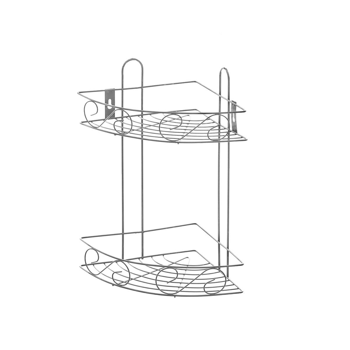 Полка угловая Доляна, 2-х ярусная, высота 34 см647835Полка Доляна выполнена из высококачественного металла и предназначена для хранения вещей в ванной комнате. Полка угловая и состоит из 2-х ярусов одинакового размера с бортиком по краю. Она пригодится для хранения различных предметов, которые всегда будут под рукой. Благодаря компактным размерам полка впишется в интерьер вашего дома и позволит вам удобно и практично хранить предметы домашнего обихода. Удобная и практичная металлическая полочка станет незаменимым аксессуаром в вашем хозяйстве. Высота полки: 34 см. Размер яруса: 20,5 см х 20,5 см. Расстояние между ярусами: 24 см.
