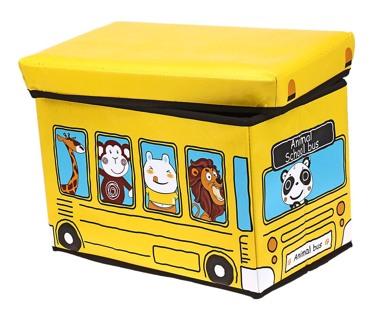 Коробка для хранения Sima-land Автобус с животными, цвет: желтый, 40 х 25 х 25 смUP210DFКоробка для хранения Sima-land Автобус с животными изготовлена из искусственной кожи и картона. Коробка имеет съемную, мягкую крышку. Материал коробки позволяет сохранять естественную вентиляцию, а воздуху свободно проникать внутрь, не пропуская пыль. Благодаря специальным вставкам, коробка прекрасно держит форму, что позволяет ее использовать как дополнительное посадочное место для ребенка. Эстетичный дизайн коробки понравиться вашему ребенку. Компактные габариты коробки не загромождают помещение. Коробку можно хранить в обычном шкафу. Внутренняя емкость позволяет хранить внутри игрушки, книжки и прочие предметы. Мобильность конструкции обеспечивает складывание и раскладывание одним движением.Коробка Sima-land Автобус с животными поможет хранить игрушки все в одном месте, а также защитить их от пыли, грязи и влаги. Размер коробки: 40 см х 25 см х 25 см.