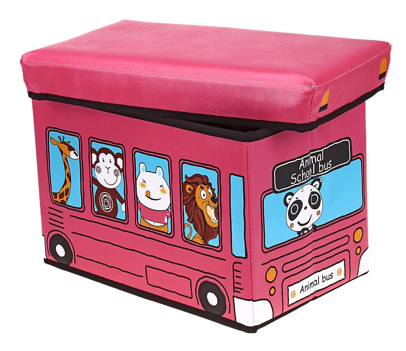 Коробка для хранения Sima-land Автобус с животными, цвет: розовый, 40 см х 25 см х 25 см648345Коробка для хранения Sima-land Автобус с животными изготовлена из искусственной кожи и картона. Коробка имеет съемную, мягкую крышку. Материал коробки позволяет сохранять естественную вентиляцию, а воздуху свободно проникать внутрь, не пропуская пыль. Благодаря специальным вставкам, коробка прекрасно держит форму, что позволяет ее использовать как дополнительное посадочное место для ребенка. Эстетичный дизайн коробки понравиться вашему ребенку. Компактные габариты коробки не загромождают помещение. Коробку можно хранить в обычном шкафу. Внутренняя емкость позволяет хранить внутри игрушки, книжки и прочие предметы. Мобильность конструкции обеспечивает складывание и раскладывание одним движением. Коробка Sima-land Автобус с животными поможет хранить игрушки все в одном месте, а также защитить их от пыли, грязи и влаги. Размер коробки: 40 см х 25 см х 25 см.