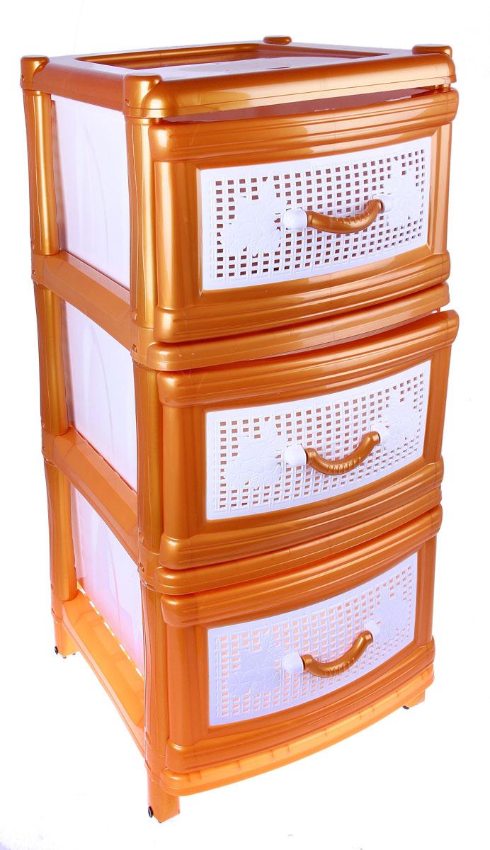 Комод Альтернатива, цвет: золотой, 38 см х 48 см х 74 см