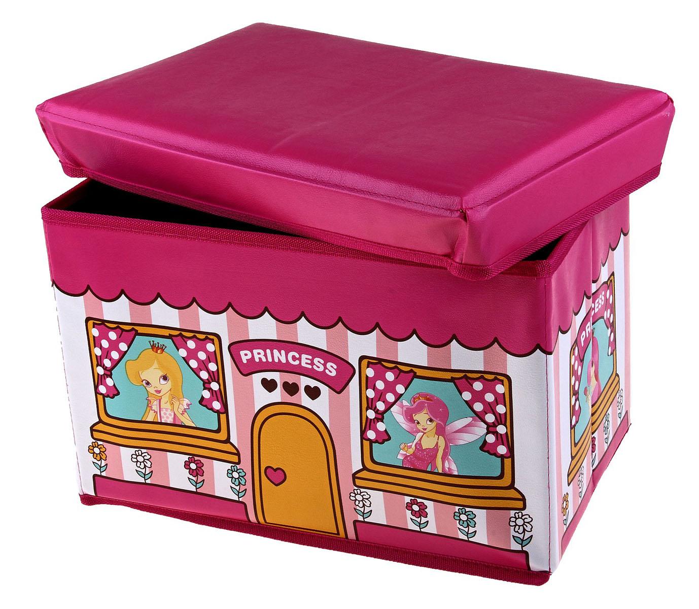Коробка для хранения Sima-land Принцесса, 40 х 25 х 25 см707525Коробка для хранения Sima-land Принцесса изготовлена из искусственной кожи и картона. Коробка имеет съемную, мягкую крышку. Материал коробки позволяет сохранять естественную вентиляцию, а воздуху свободно проникать внутрь, не пропуская пыль. Благодаря специальным вставкам, коробка прекрасно держит форму, что позволяет ее использовать как дополнительное посадочное место для ребенка. Эстетичный дизайн коробки понравиться вашему ребенку. Компактные габариты коробки не загромождают помещение. Коробку можно хранить в обычном шкафу. Внутренняя емкость позволяет хранить внутри игрушки, книжки и прочие предметы. Мобильность конструкции обеспечивает складывание и раскладывание одним движением. Коробка Sima-land Принцесса поможет хранить игрушки все в одном месте, а также защитить их от пыли, грязи и влаги. Размер коробки: 40 см х 25 см х 25 см.