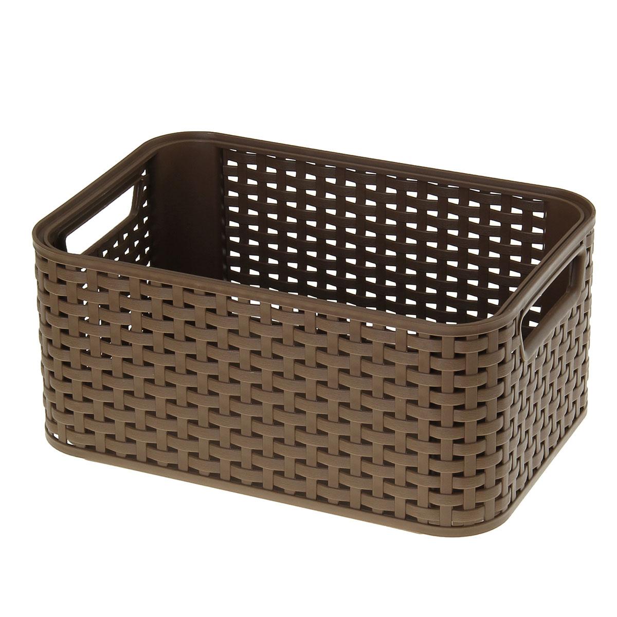 Корзинка Curver, цвет: коричневый, 29 х 19 х 13 см911608Корзинка Curver, изготовленная из высококачественного прочного пластика, предназначена для хранения мелочей в ванной, на кухне, даче или гараже. Изделие оснащено двумя удобными ручками. Это легкая корзина со сплошным дном, жесткой кромкой и небольшими отверстиями позволяет хранить мелкие вещи, исключая возможность их потери.