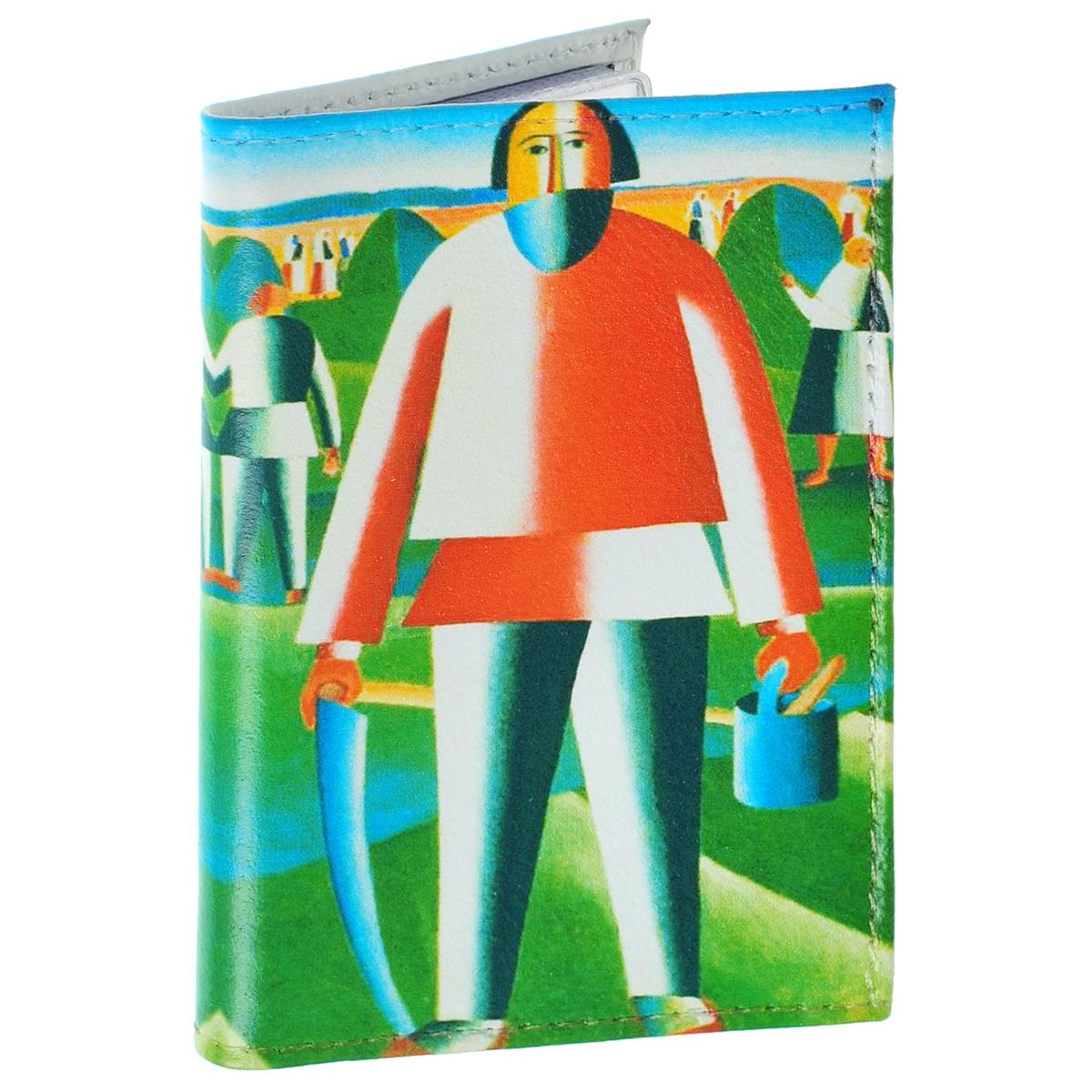 Визитница На сенокосе К. Малевич. VIZIT-224VIZIT-224Оригинальная визитница Mitya Veselkov На сенокосе - стильная вещь для хранения визиток. Она выполнена из натуральной кожи и оформлена фрагментом картины Малевича На сенокосе. Внутри содержится съемный блок из прозрачного мягкого пластика на 18 визиток и 2 прозрачных вертикальных кармана. Яркая и оригинальная визитница подчеркнет вашу индивидуальность и изысканный вкус, а также станет замечательным подарком человеку, ценящему качественные и практичные вещи.