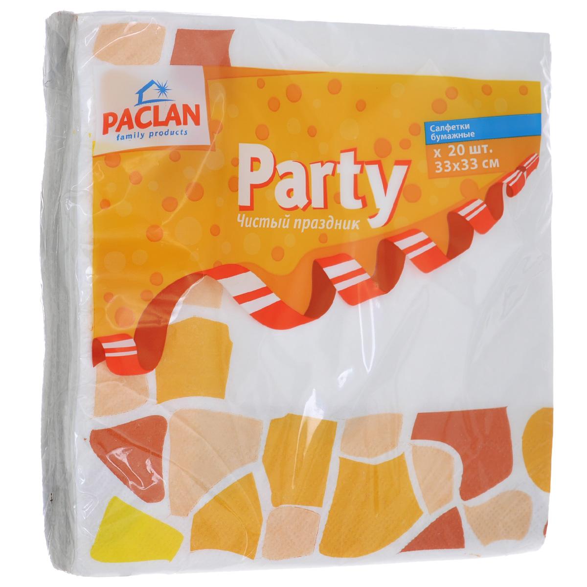 Салфетки бумажные Paclan Party, цвет: белый, желтый, трехслойные, 33 см х 33 см, 20 штTF-14AU-12Трехслойные бумажные салфетки Paclan Party, выполненные из натуральной целлюлозы, станут отличным дополнением праздничного стола. Изделия декорированы красивым рисунком. Они отличаются необычной мягкостью и прочностью. Салфетки красиво оформят сервировку стола. Размер салфеток: 33 см х 33 см. Количество слоев: 3 слоя. Количество салфеток: 20 шт.