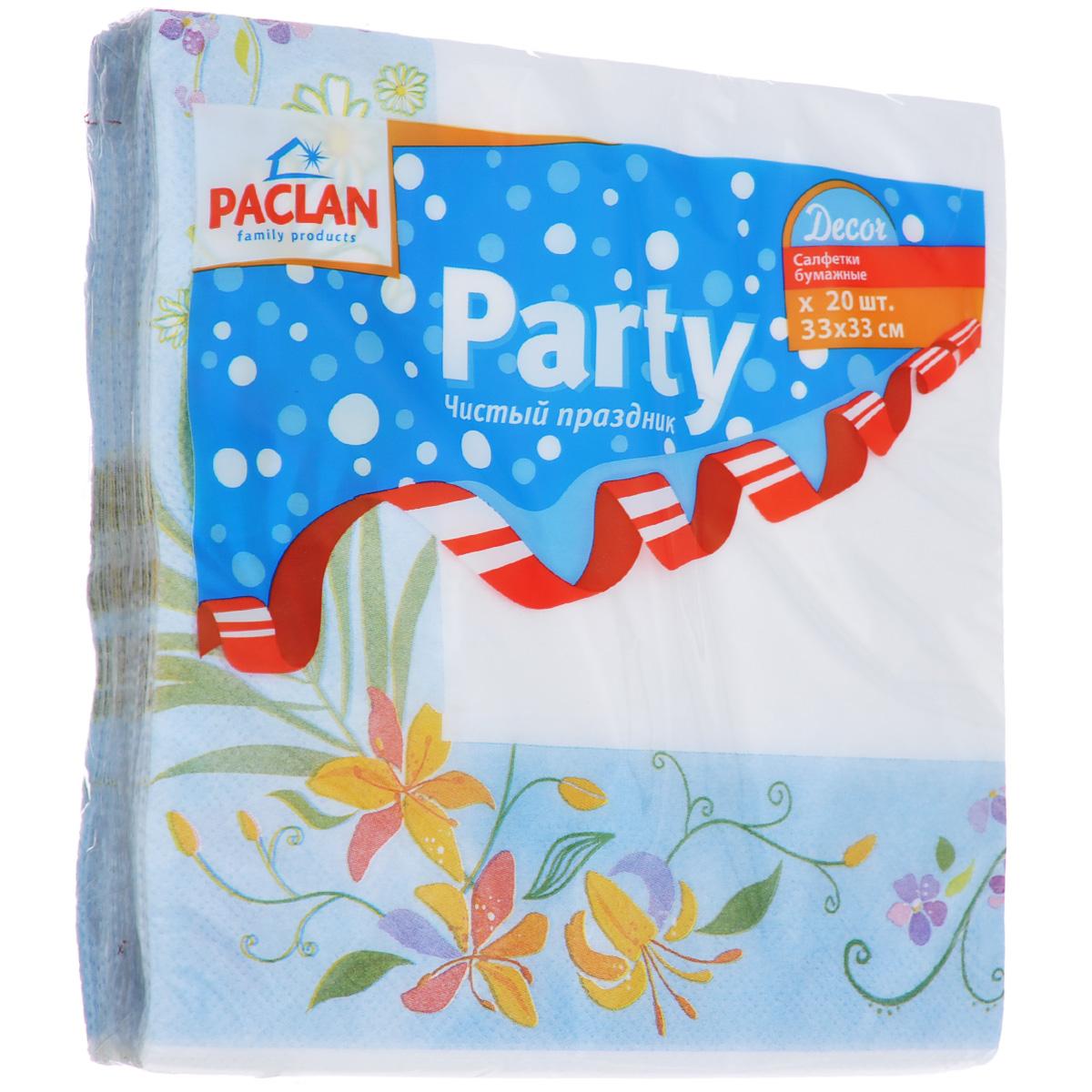 Салфетки бумажные Paclan Party. Decor, цвет: белый, голубой, трехслойные, 33 см х 33 см, 20 шт10503Трехслойные бумажные салфетки Paclan Party. Decor, выполненные из натуральной целлюлозы, станут отличным дополнением праздничного стола. Изделия украшены изображениями цветов. Они отличаются необычной мягкостью и прочностью. Салфетки красиво оформят сервировку стола. Размер салфеток: 33 см х 33 см. Количество слоев: 3 слоя. Количество салфеток: 20 шт.