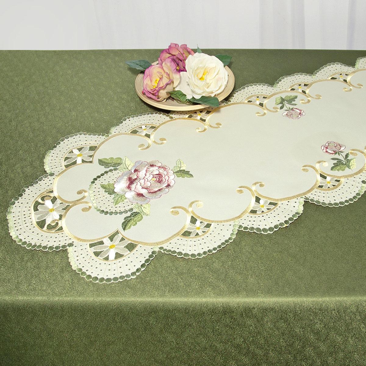 Дорожка для декорирования стола Schaefer, овальная, цвет: бежевый, зеленый, 40 x 110 см 07484-23307484-233Дорожка Schaefer выполнена из высококачественного полиэстера и и украшена вышитыми рисунками в виде цветов. Края дорожки оформлены в технике ришелье. Вы можете использовать дорожку для декорирования стола, комода или журнального столика. Благодаря такой дорожке вы защитите поверхность мебели от воды, пятен и механических воздействий, а также создадите атмосферу уюта и домашнего тепла в интерьере вашей квартиры. Изделия из искусственных волокон легко стирать: они не мнутся, не садятся и быстро сохнут, они более долговечны, чем изделия из натуральных волокон. Изысканный текстиль от немецкой компании Schaefer - это красота, стиль и уют в вашем доме. Дорожка органично впишется в интерьер любого помещения, а оригинальный дизайн удовлетворит даже самый изысканный вкус. Дарите себе и близким красоту каждый день!