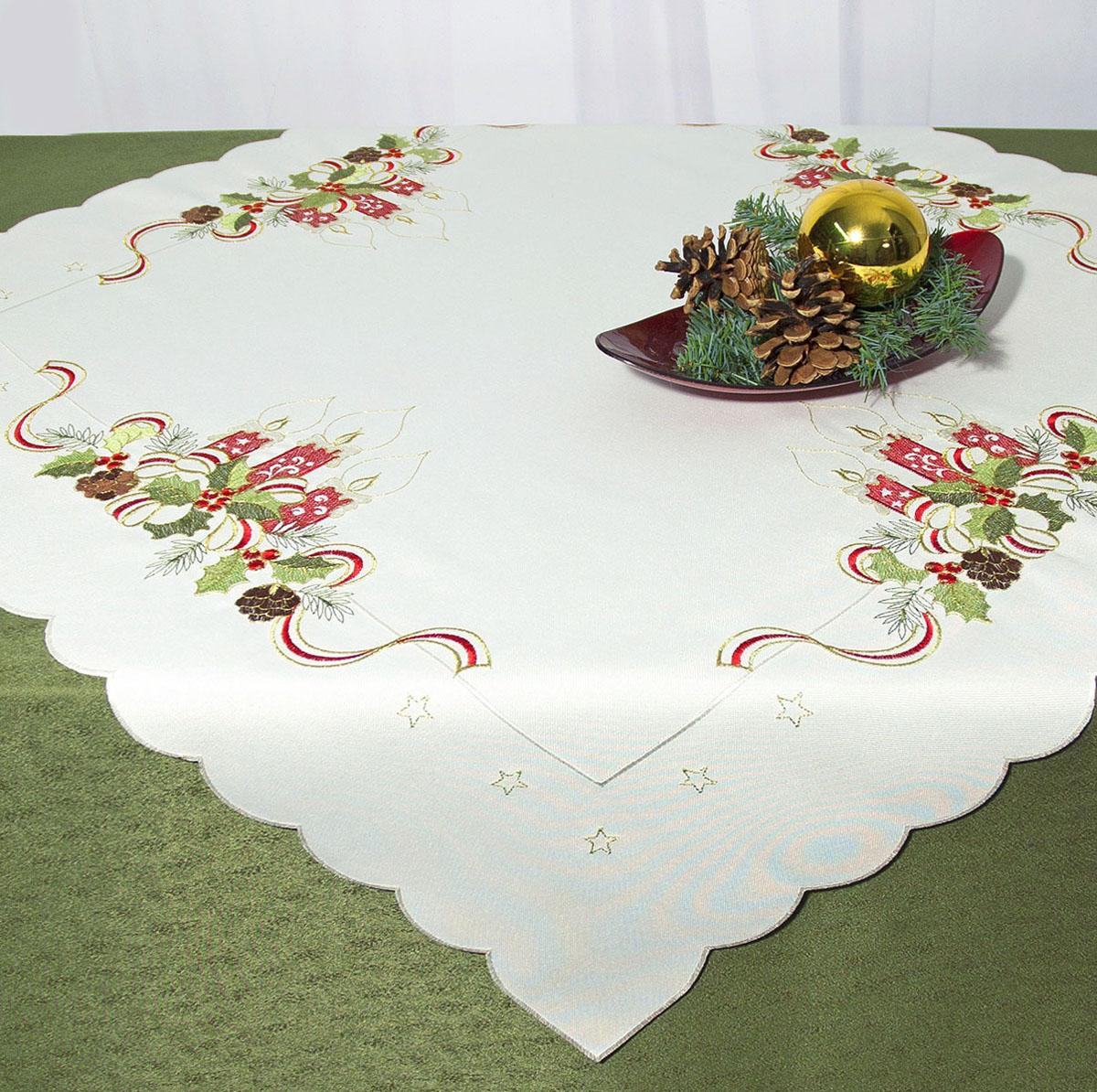 """Скатерть """"Schaefer"""", квадратная, цвет: белый, 85 x 85 см. 07488-100"""