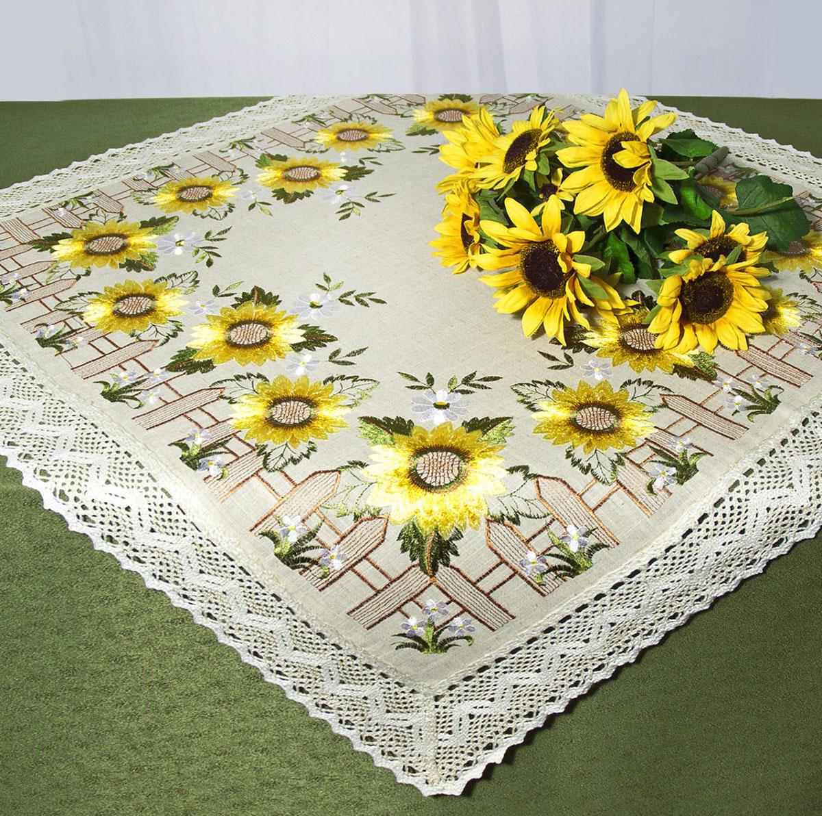 """Скатерть """"Schaefer"""", квадратная, цвет: серый, желтый, 85 x 85 см. 07493-100"""