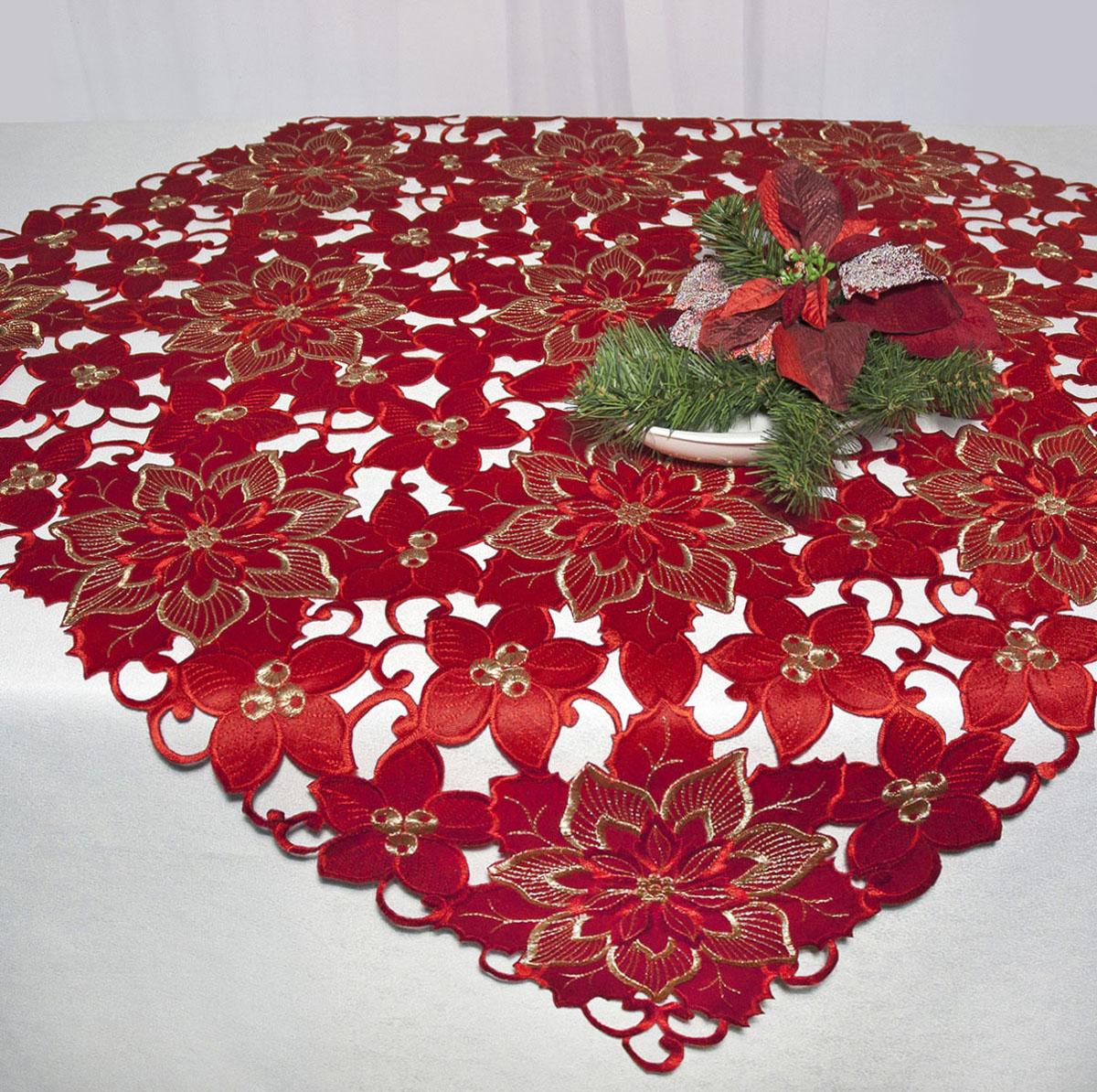 Скатерть Schaefer, квадратная, цвет: красный, 85 x 85 см. 07482-10007482-100Скатерть Schaefer изготовлена из полиэстера и декорирована вышитыми в технике ришелье цветами. Изделия из полиэстера легко стирать: они не мнутся, не садятся и быстро сохнут, они более долговечны, чем изделия из натуральных волокон. Кроме того, ткань обладает водоотталкивающими свойствами. Такая скатерть будет просто не заменима на кухне, а особенно на вашем обеденном столе на даче под открытым небом. Скатерть Schaefer не останется без внимания ваших гостей, а вас будет ежедневно радовать ярким дизайном и несравненным качеством. Немецкая компания Schaefer создана в 1921 году. На протяжении всего времени существования она создает уникальные коллекции домашнего текстиля для гостиных, спален, кухонь и ванных комнат. Дизайнерские идеи немецких художников компании Schaefer воплощаются в текстильных изделиях, которые сделают ваш дом красивее и уютнее и не останутся незамеченными вашими гостями. Дарите себе и близким красоту каждый...