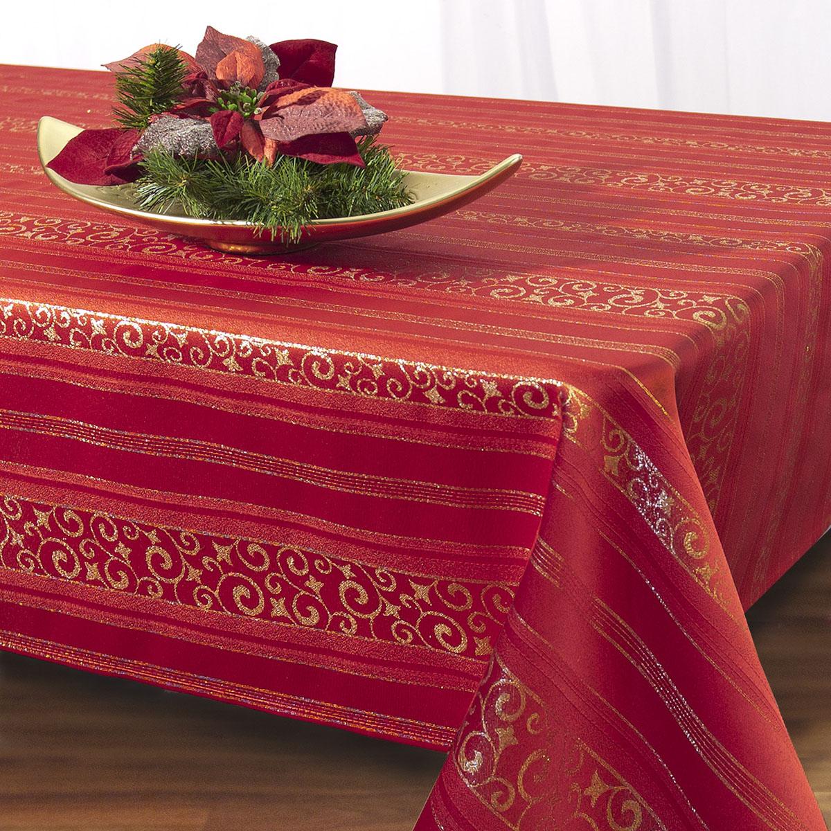 Скатерть Schaefer, прямоугольная, цвет: красный, золотистый, 130 x 160 см. 07473-42707473-427Скатерть Schaefer изготовлена из полиэстера. Она декорирована красивыми переливающимися нитями и узорами. Изделия из полиэстера легко стирать: они не мнутся, не садятся и быстро сохнут, они более долговечны, чем изделия из натуральных волокон. Кроме того, ткань обладает водоотталкивающими свойствами. Такая скатерть будет просто не заменима на кухне, а особенно на вашем обеденном столе на даче под открытым небом. Скатерть Schaefer не останется без внимания ваших гостей, а вас будет ежедневно радовать ярким дизайном и несравненным качеством. Немецкая компания Schaefer создана в 1921 году. На протяжении всего времени существования она создает уникальные коллекции домашнего текстиля для гостиных, спален, кухонь и ванных комнат. Дизайнерские идеи немецких художников компании Schaefer воплощаются в текстильных изделиях, которые сделают ваш дом красивее и уютнее и не останутся незамеченными вашими гостями. Дарите себе и близким красоту каждый день!...