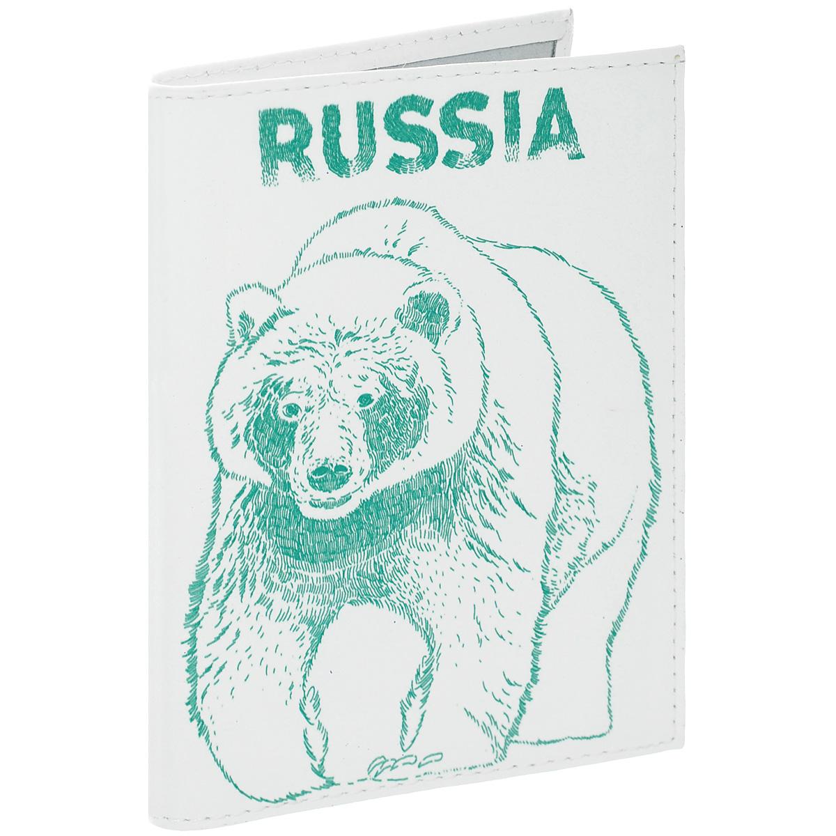 Обложка для автодокументов Медведь. AUTO301AUTO301Обложка для автодокументов Mitya Veselkov Медведь изготовлена из натуральной высококачественной кожи и оформлена изображением медведя и надписью Russia. На внутреннем развороте имеются съемный блок из шести прозрачных файлов из мягкого пластика для водительских документов, а также два боковых кармашка для визиток или банковских карт. Стильная обложка не только поможет сохранить внешний вид ваших документов и защитить их от грязи и пыли, но и станет аксессуаром, который подчеркнет вашу яркую индивидуальность.