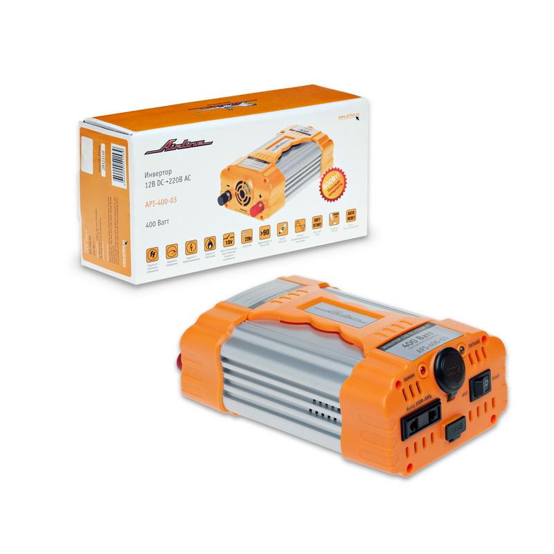 Инвертор Airline, 12В-220В, 400 ВтAPI-400-03Автомобильный преобразователь напряжения Airline (инвертор) позволяет получить переменное напряжение 220В – 50Гц от аккумулятора автомобиля. Инвертор предназначен для питания устройств с потребляемой мощностью до 750Вт, например: ноутбуков, видеокамер, DVD-плееров, зарядных устройств, электроинструментов, осветительных приборов и т.д. В инвертор встроено гнездо USB 5В для питания и зарядки мобильных устройств и гнездо прикуривателя для подключения устройств с питанием 12 вольт.