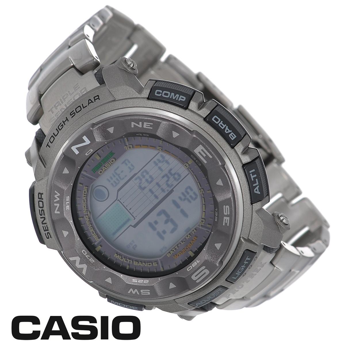 Часы мужские наручные Casio Protrek, цвет: титановый. PRW-2500T-7EPRW-2500T-7EСтильные кварцевые часы Protrek от японского брэнда Casio - это яркий функциональный аксессуар для современных людей, которые стремятся выделиться из толпы и подчеркнуть свою индивидуальность. Часы выполнены в спортивном стиле. Корпус выполнен из пластика и металлических элементов. ЖК-циферблат с вращающимся алюминиевым безелем. Электролюминесцентная подсветка освещает весь циферблат. Подсветка активируется при недостаточном свете и выключается, когда освещения достаточно. Браслет из титанового сплава имеет раскладывающуюся застежку, открываемую одним касанием. Основные функции: - 5 будильников, ежечасный сигнал; - автоматический календарь (число, день недели, месяц, год); - секундомер с точностью показаний 1/100 с и временем измерения 24 ч; - мировое время; - таймер обратного отсчета от 1 мин до 1 ч; - 12-ти и 24-х часовой формат времени; - встроенный цифровой компас; - ...