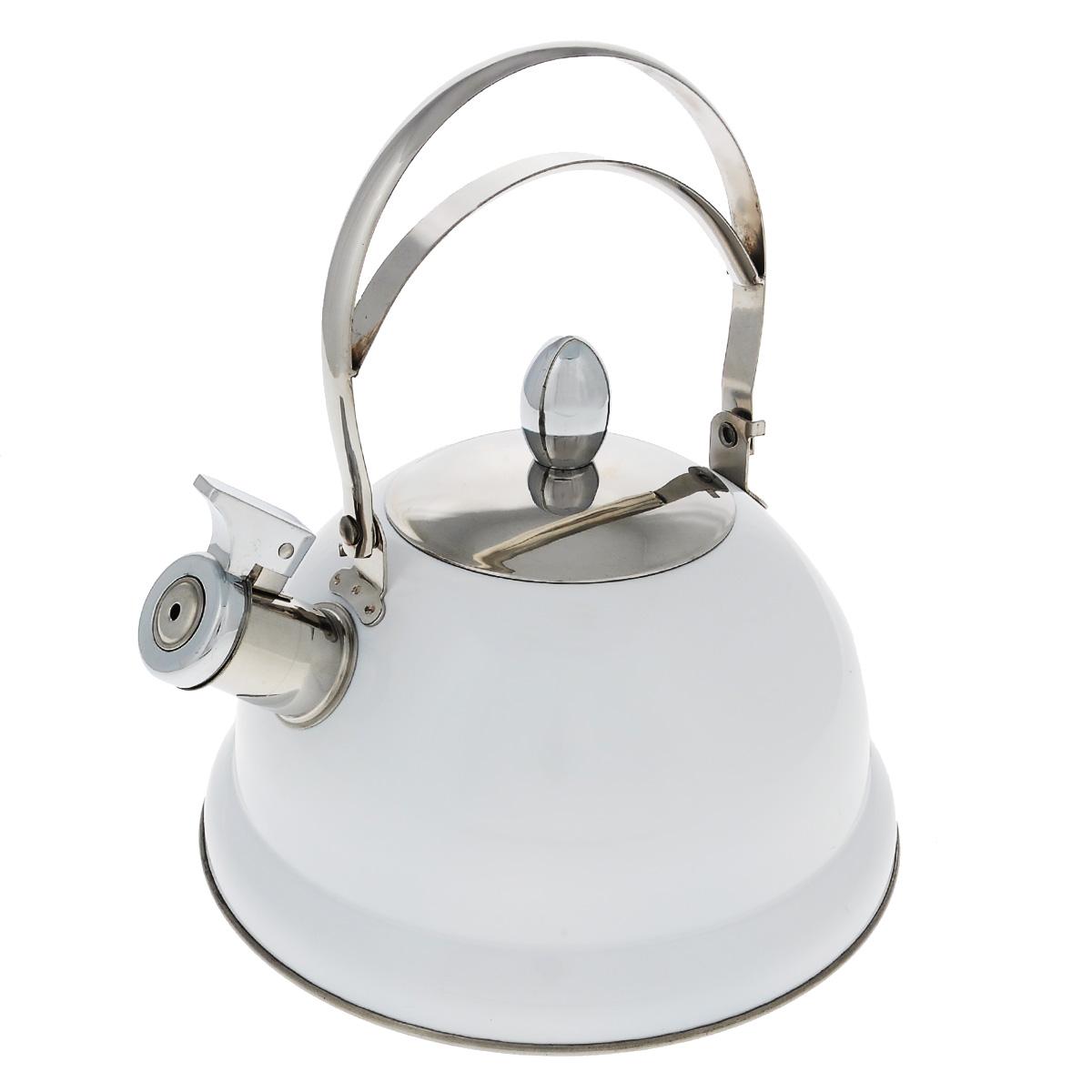 Чайник Bekker De Luxe, со свистком, цвет: белый, 2,6 л. BK-S408BK-S408Чайник Bekker De Luxe изготовлен из высококачественной нержавеющей стали 18/10 с цветным эмалевым покрытием. Капсулированное дно распределяет тепло по всей поверхности, что позволяет чайнику быстро закипать. Ручка подвижная. Носик оснащен откидным свистком, который подскажет, когда вода закипела. Свисток открывается и закрывается с помощью специального рычага. Подходит для всех типов плит, включая индукционные. Можно мыть в посудомоечной машине. Диаметр (по верхнему краю): 10 см. Диаметр основания: 22 см. Высота чайника (без учета ручки): 13 см.
