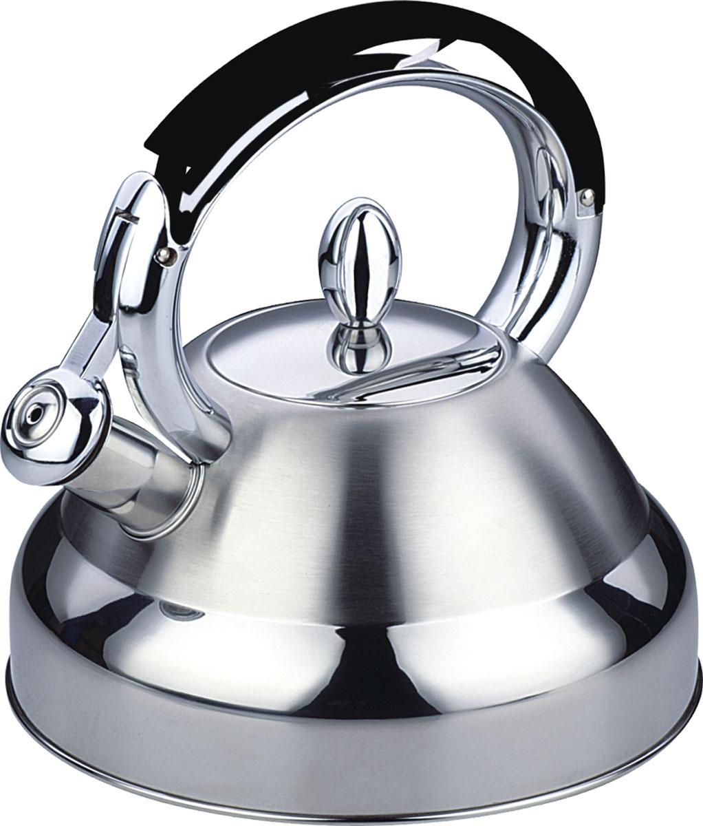 Чайник Bekker De Luxe со свистком, 2,7 л. BK-S42694672Чайник Bekker De Luxe изготовлен из высококачественной нержавеющей стали 18/10. Поверхность матовая с зеркальной полосой по нижнему краю. Капсулированное дно распределяет тепло по всей поверхности, что позволяет чайнику быстро закипать. Эргономичная фиксированная рукоятка выполнена из нержавеющей стали и бакелита с прорезиненным покрытием. Носик оснащен откидным свистком, который подскажет, когда вода закипела. Свисток открывается и закрывается нажатием на рукоятку. Оригинальный дизайн эффектно оформит интерьер кухни.Подходит для всех типов плит, включая индукционные. Можно мыть в посудомоечной машине.