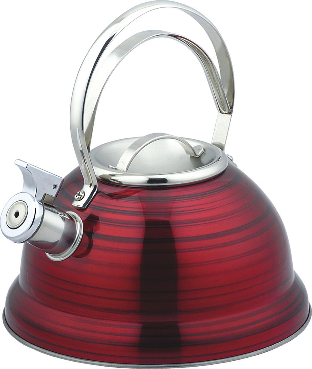 Чайник Bekker De Luxe, со свистком, 2,5 л. BK-S428BK-S428Чайник Bekker De Luxe изготовлен из высококачественной нержавеющей стали с цветным матовым покрытием в полоску. Капсулированное дно распределяет тепло по всей поверхности, что позволяет чайнику быстро закипать. Крышка и эргономичная фиксированная ручка выполнены из нержавеющей стали. Носик оснащен откидным свистком, который подскажет, когда закипела вода. Подходит для всех типов плит, кроме индукционных. Можно мыть в посудомоечной машине. Диаметр (по верхнему краю): 10 см. Диаметр основания: 22 см. Толщина стенки: 0,4 мм. Высота чайника (без учета ручки и крышки): 11,5 см. Высота чайника (с учетом ручки и крышки): 23,5 см.