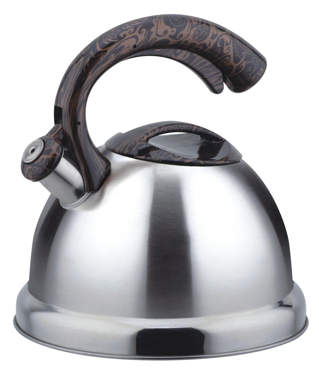 Чайник Bekker Koch со свистком, 3 л. BK-S454VT-1520(SR)Чайник Bekker Koch изготовлен из высококачественной нержавеющей стали 18/10. Поверхность матовая с зеркальной полосой по нижнему краю. Цельнометаллическое дно распределяет тепло по всей поверхности, что позволяет чайнику быстро закипать. Крышка и эргономичная фиксированная ручка выполнены из бакелита с изящным узором. Носик оснащен откидным свистком, который подскажет, когда вода закипела. Свисток открывается и закрывается нажатием рычага на ручке. Подходит для всех типов плит, включая индукционные. Можно мыть в посудомоечной машине.