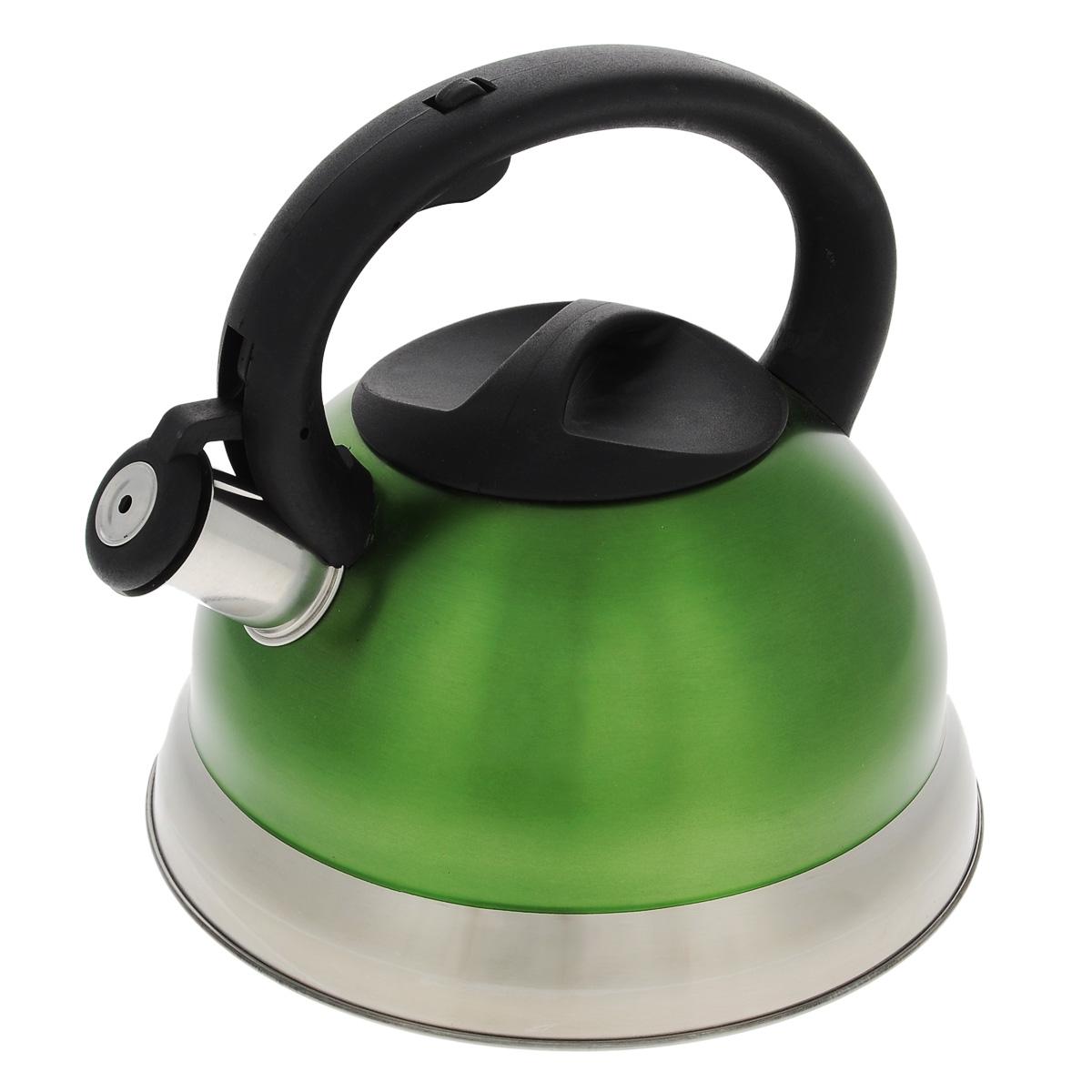 Чайник Bekker Premium со свистком, цвет: зеленый, 2,7 л. BK-S461BK-S461Чайник Bekker Premium изготовлен из высококачественной нержавеющей стали 18/10 с цветным матовым покрытием. Капсулированное дно распределяет тепло по всей поверхности, что позволяет чайнику быстро закипать. Крышка и эргономичная фиксированная ручка выполнены из бакелита черного цвета. Носик оснащен откидным свистком, который подскажет, когда закипела вода. Свисток открывается и закрывается нажатием кнопки на рукоятке. Подходит для всех типов плит, включая индукционные. Можно мыть в посудомоечной машине. Высота чайника (без учета ручки): 11,5 см. Высота чайника (с учетом ручки): 21 см. Толщина стенки: 0,4 мм.