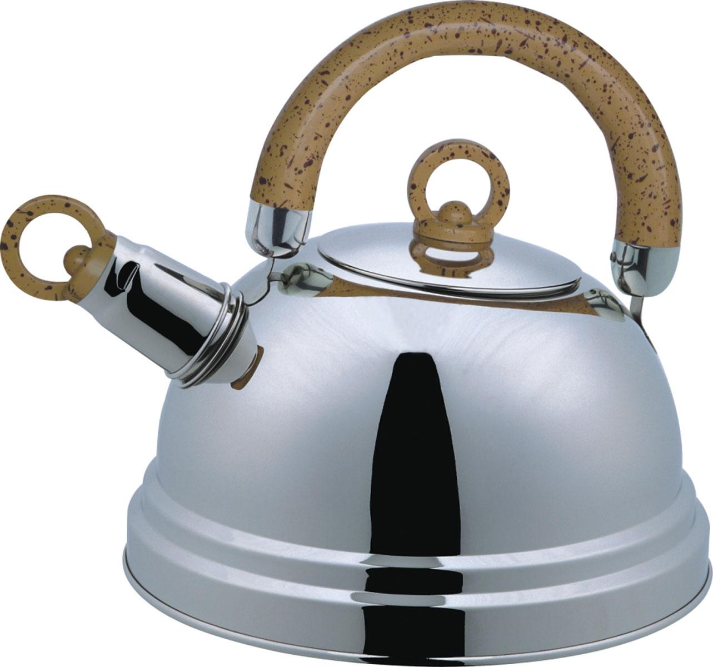 Чайник Bekker De Luxe со свистком, 2,5 л. BK-S367M (12)VT-1520(SR)Чайник Bekker De Luxe изготовлен из высококачественной нержавеющей стали с зеркальной полировкой. Капсулированное дно распределяет тепло по всей поверхности, что позволяет чайнику быстро закипать. Эргономичная подвижная ручка выполнена из бакелита оригинального дизайна. Носик оснащен съемным свистком, который подскажет, когда вода закипела. Подходит для всех типов плит, кроме индукционных. Можно мыть мыть в посудомоечной машине.Диаметр (по верхнему краю): 8,5 см. Диаметр основания: 20,5 см. Толщина стенок: 0,4 мм.Высота чайника (без учета ручки): 12 см. Высота чайника (с учетом ручки): 22,5 см.