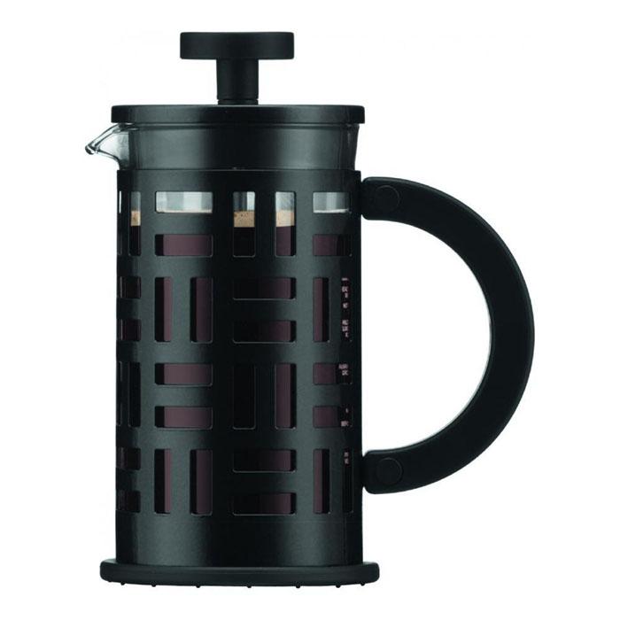 Кофейник Bodum Eileen с прессом, цвет: черный, 350 млVT-1520(SR)Кофейник Bodum Eileen имеет жаропрочный, теплосберегающий узкий стеклянный цилиндр и поршень, нижняя часть которого соединена с сетчатым металлическим фильтром. Кофейник изготовлен на основе технологии «френч-пресс». Кофейник Bodum Eileen имеет удобную ручку, изготовленную из пластика. Коспус кофейника, изготовлен из нержавеющей стали, в оригинальном стиле. Свое название кофейник приобрел, благодаря гениальному дизайнеру Эйлин Грей (Eileen Gray) .Стиль Эйлин, схож со стилем Bodum. Она работала с металлом и создавала простые и лаконичные формы. Кофейник можно наблюдать во многих кафе Парижа. Кофейник с прессом Bodum Eileen добавит вашему домашнему интерьеру французского шарма. Не применять на плите. Мешать кофе пластмассовой ложкой (входит в комплект).Сильно не давить на пресс. Все детали пригодны для мытья в посудомоечной машине. Диаметр чайника: 8 см. Высота: 16,5 см.