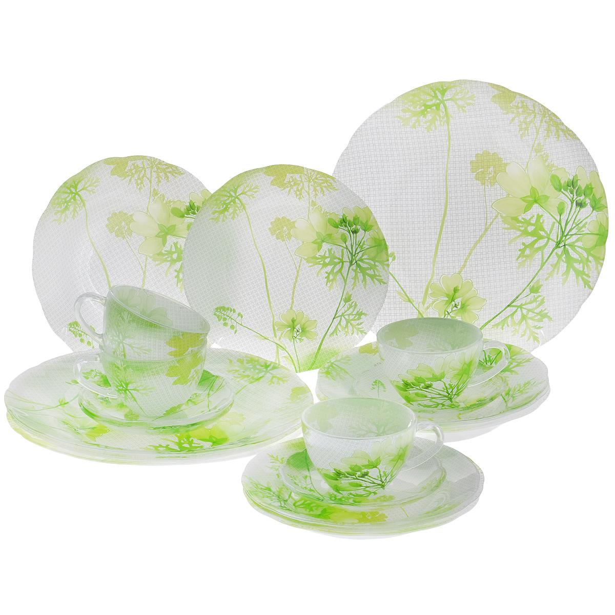 Набор посуды Яркие цветы, 20 предметов115610Набор посуды состоит из 4 чашек, 4 блюдец, 4 тарелок для супа, 4 обеденных тарелок, 4 десертных тарелок. Изделия выполнены из высококачественного стекла и оформлены изображением цветов. Этот набор эффектно украсит стол к обеду, а также прекрасно подойдет для торжественных случаев. Красочность оформления придется по вкусу и ценителям классики, и тем, кто предпочитает утонченность и изящность.